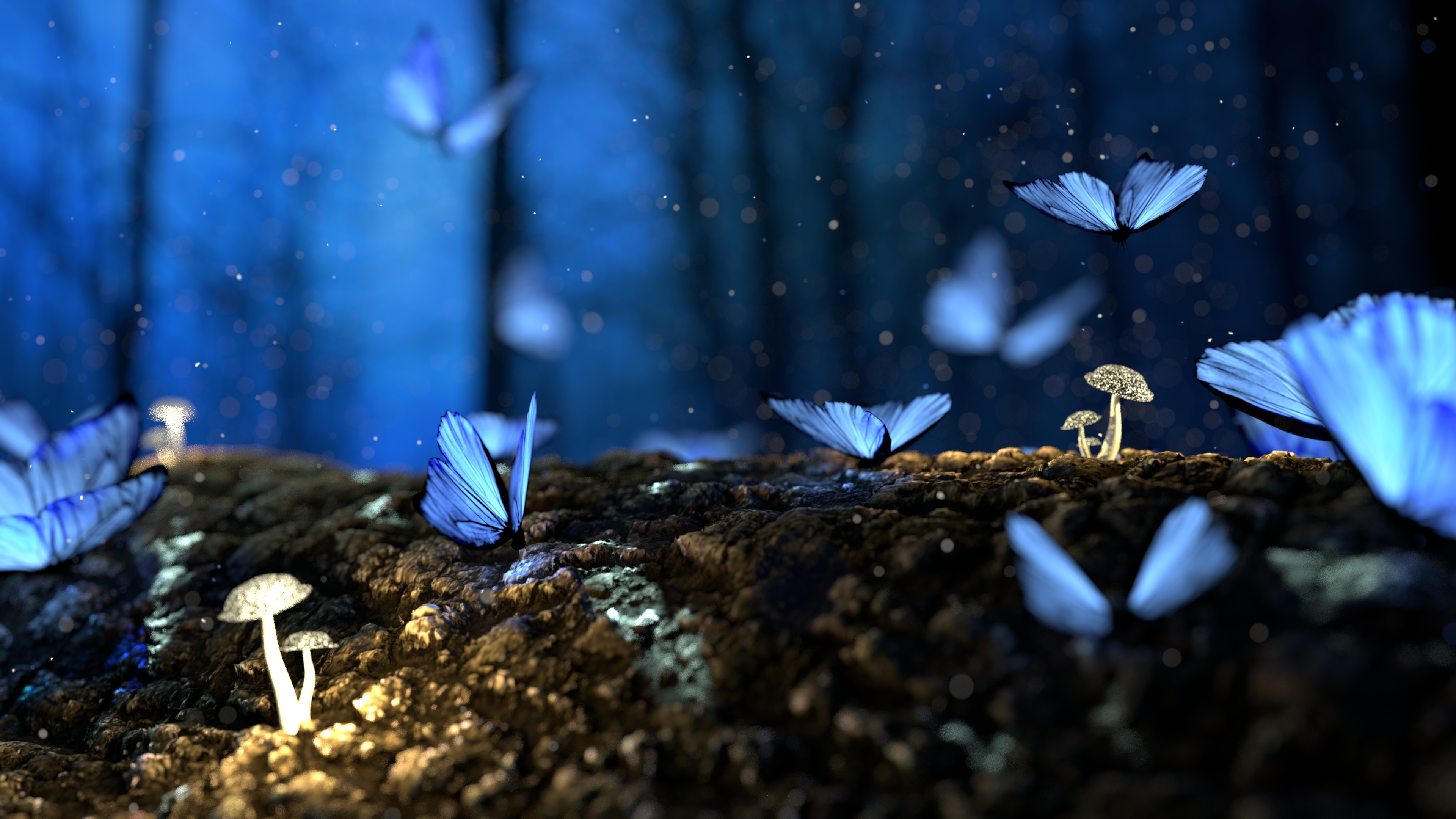 butterfly mushrooms forest fantasy 1540750952 - Butterfly Mushrooms Forest Fantasy - mushroom wallpapers, hd-wallpapers, forest wallpapers, fantasy wallpapers, digital art wallpapers, butterfly wallpapers, artist wallpapers, 4k-wallpapers