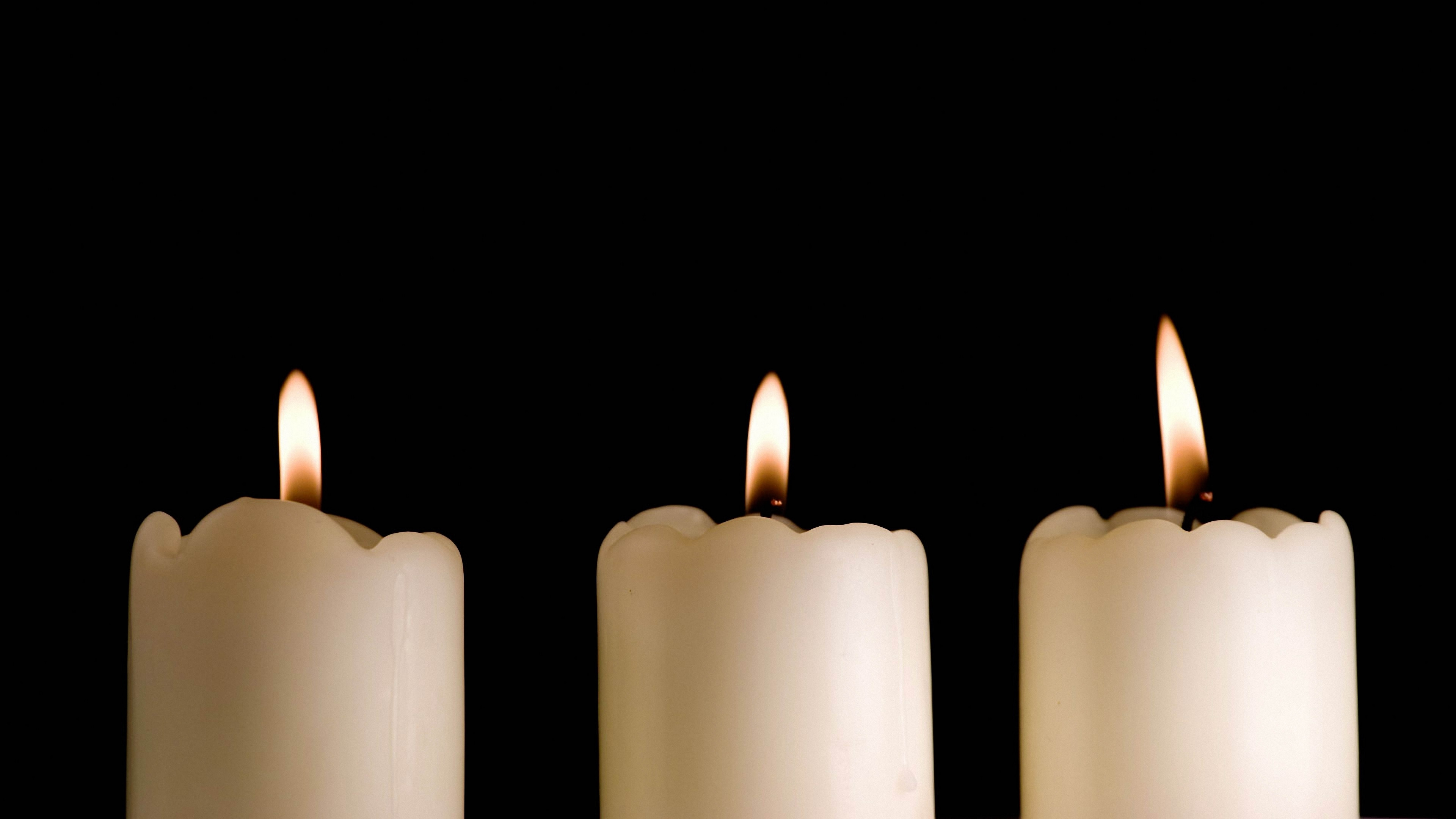 candles lights black background three 4k 1540574930 - candles, lights, black background, three 4k - Lights, Candles, black background