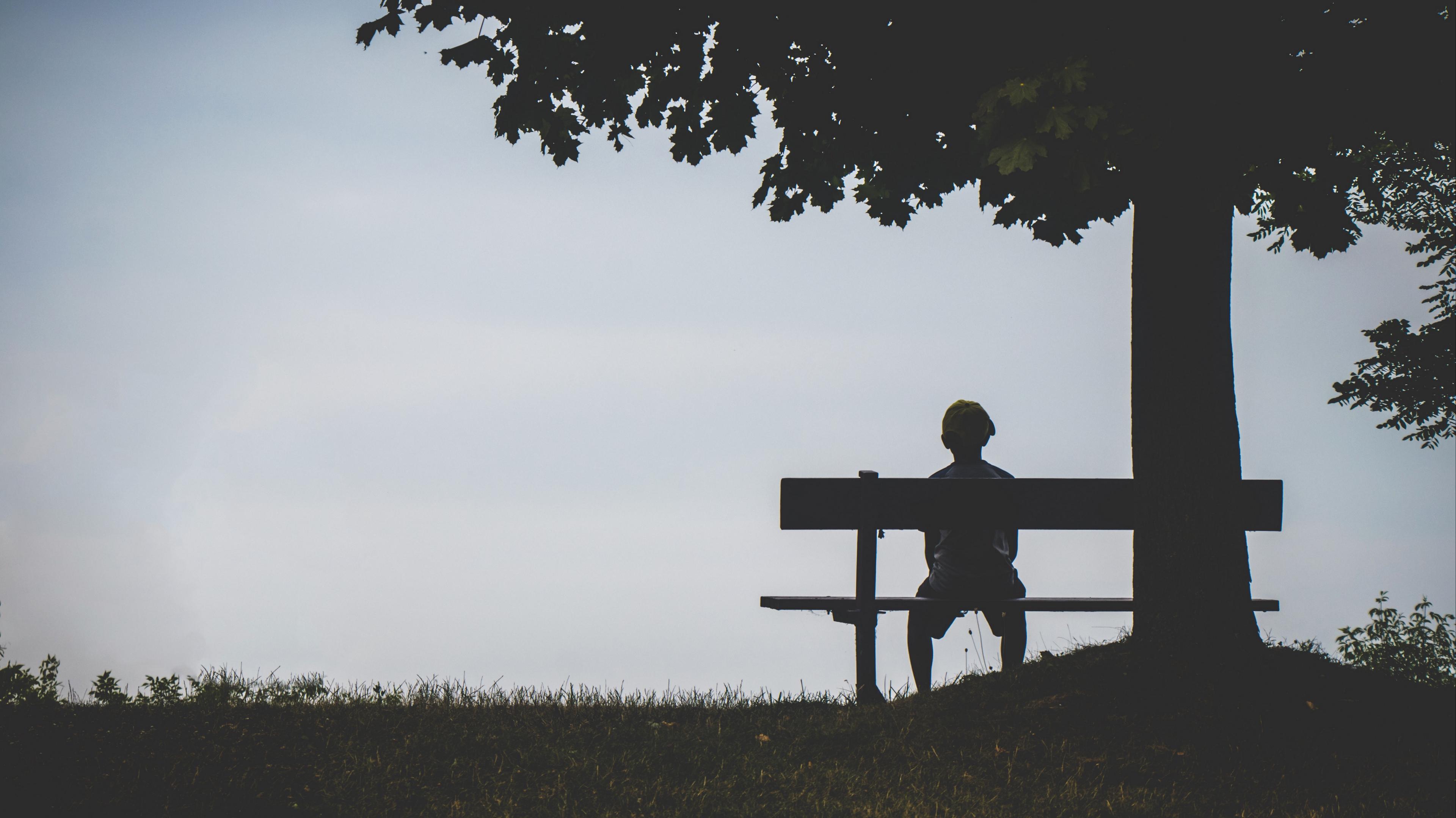 child bench alone solitude silhouette loneliness 4k 1540575921 - child, bench, alone, solitude, silhouette, loneliness 4k - child, Bench, Alone
