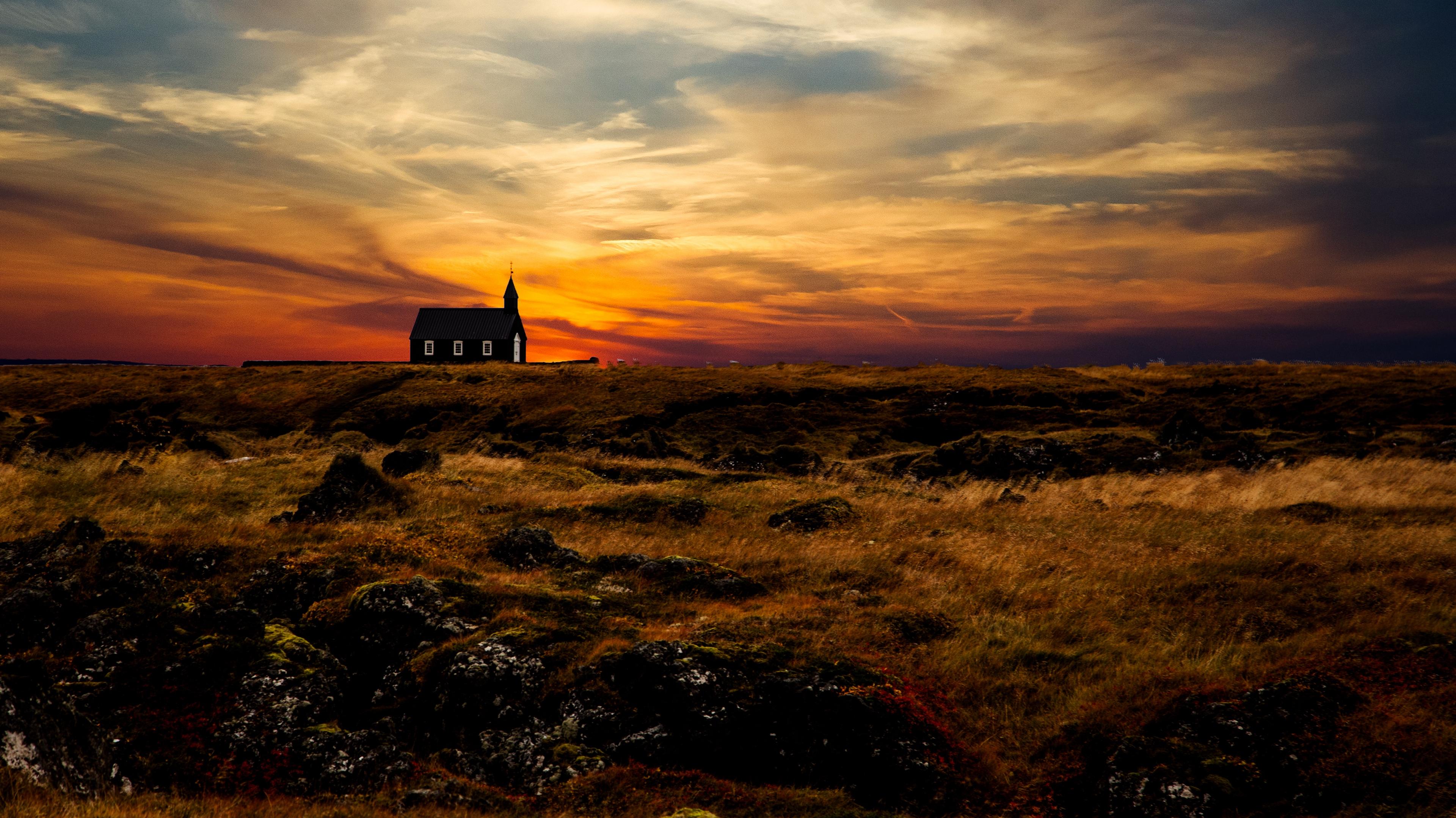 church temple horizon sunset grass sky iceland 4k 1540145817 - church, temple, horizon, sunset, grass, sky, iceland 4k - Temple, Horizon, Church