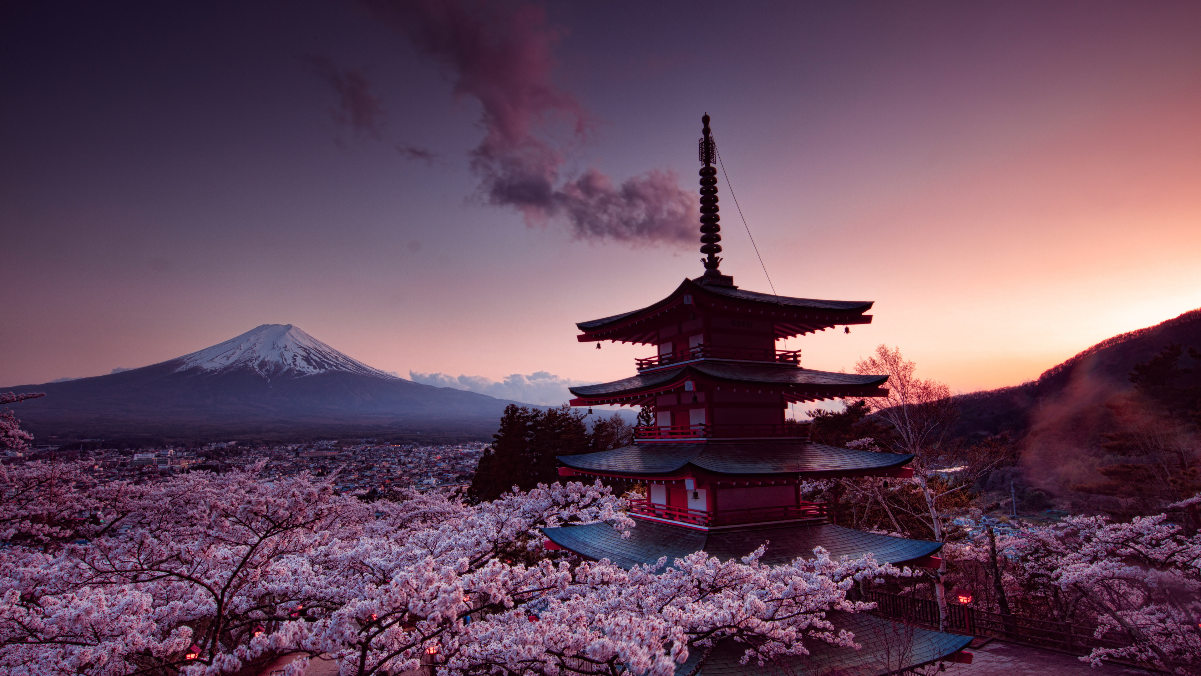 Wallpaper 4k Churei Tower Mount Fuji In Japan 4k 4k