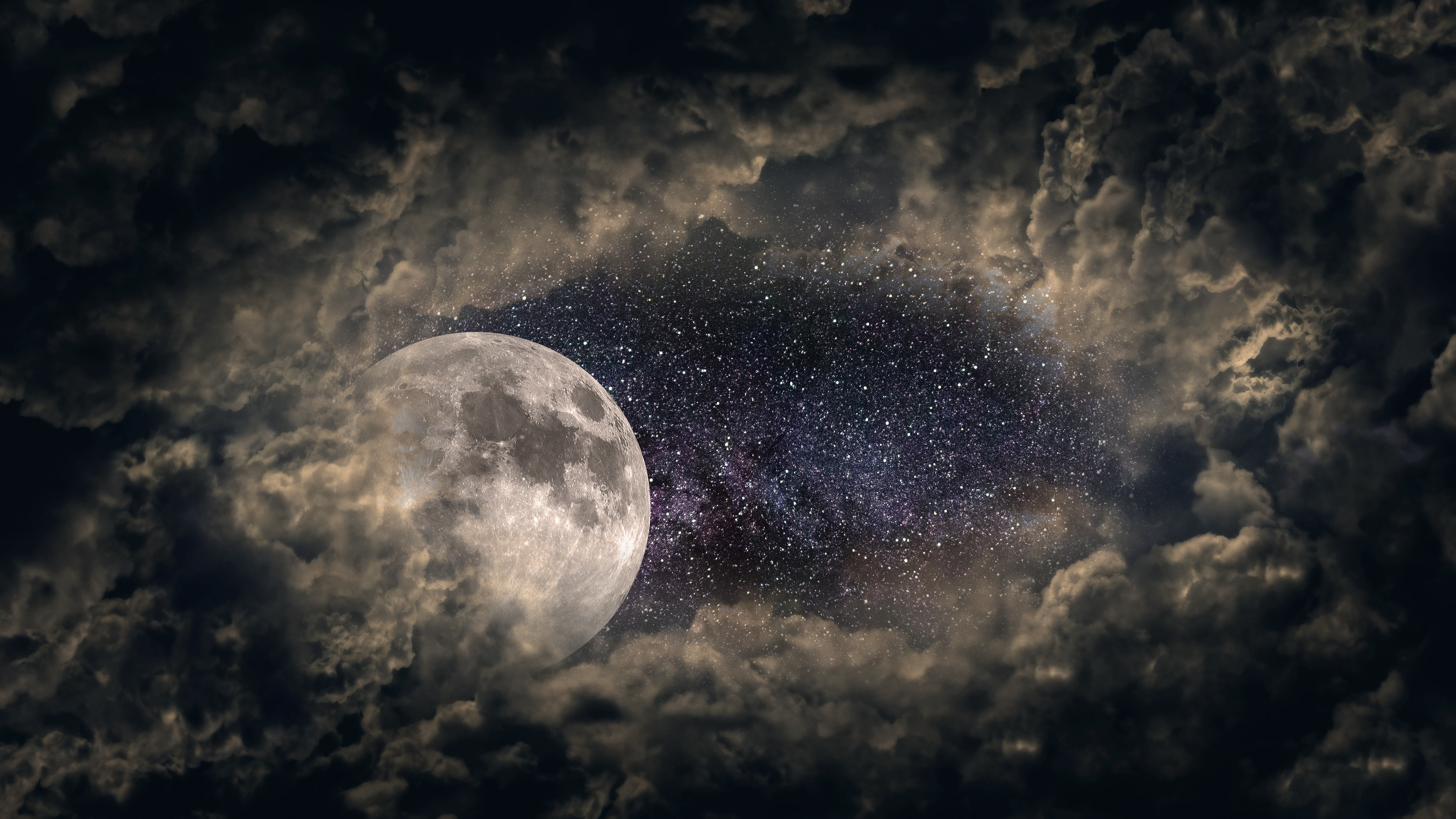clouds moon universe stars 4k 1540139285 - Clouds Moon Universe Stars 4k - universe wallpapers, stars wallpapers, nature wallpapers, moon wallpapers, hd-wallpapers, clouds wallpapers, 5k wallpapers, 4k-wallpapers