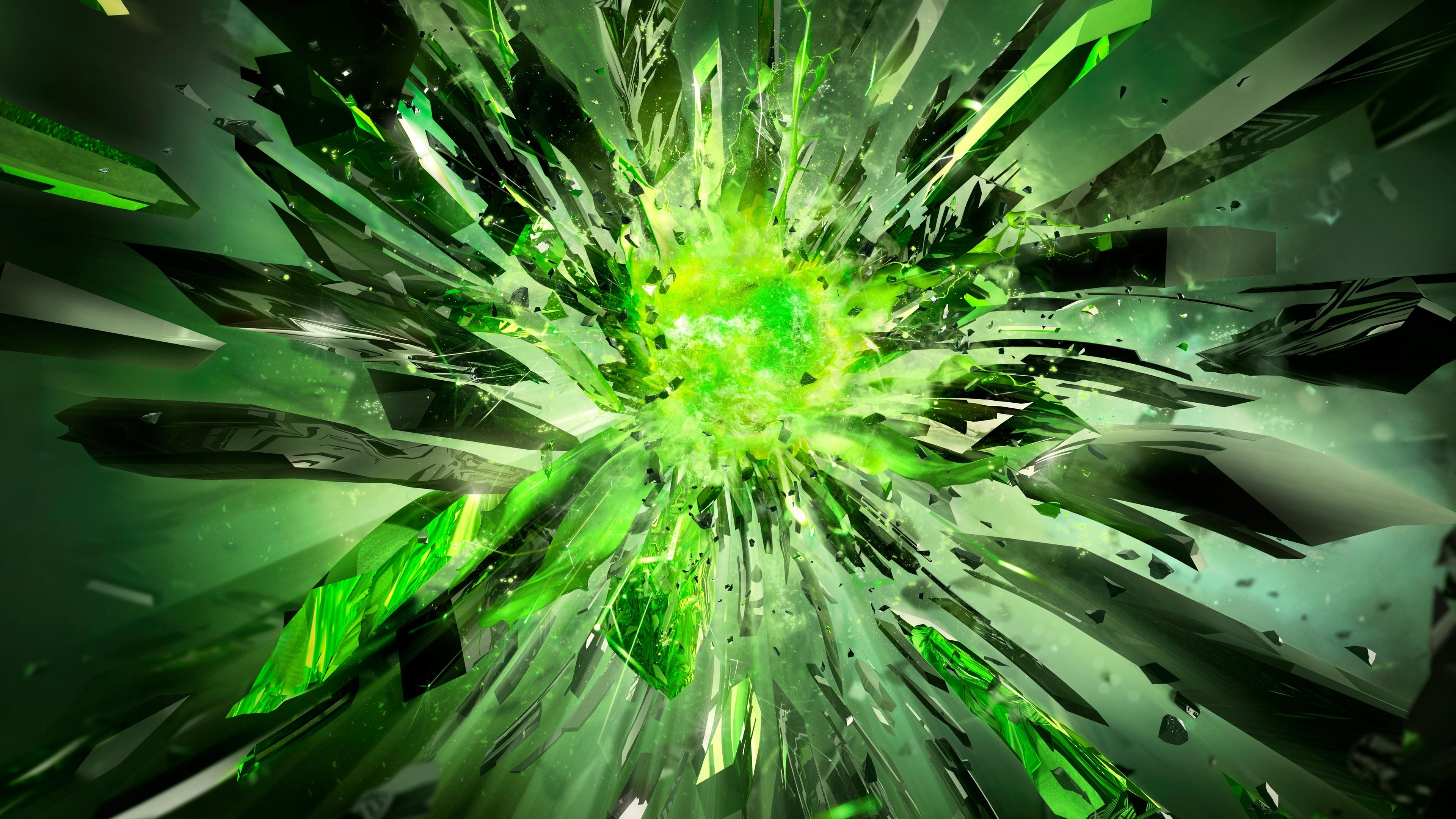 crystals debris explosion light 4k 1539370565 - crystals, debris, explosion, light 4k - Explosion, debris, Crystals