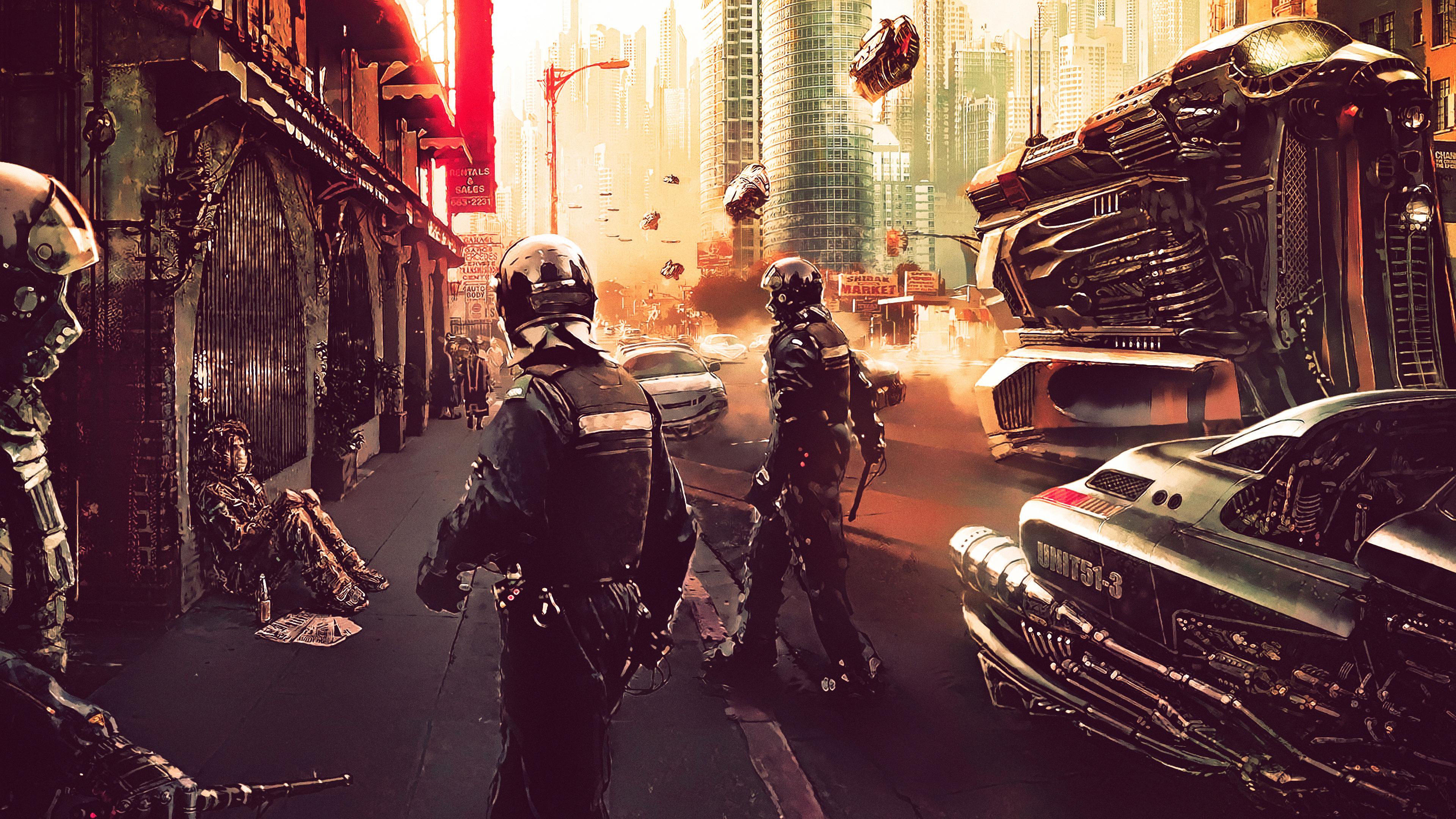 Wallpaper 4k Cyberpunk Police 4k 4k Wallpapers Artist