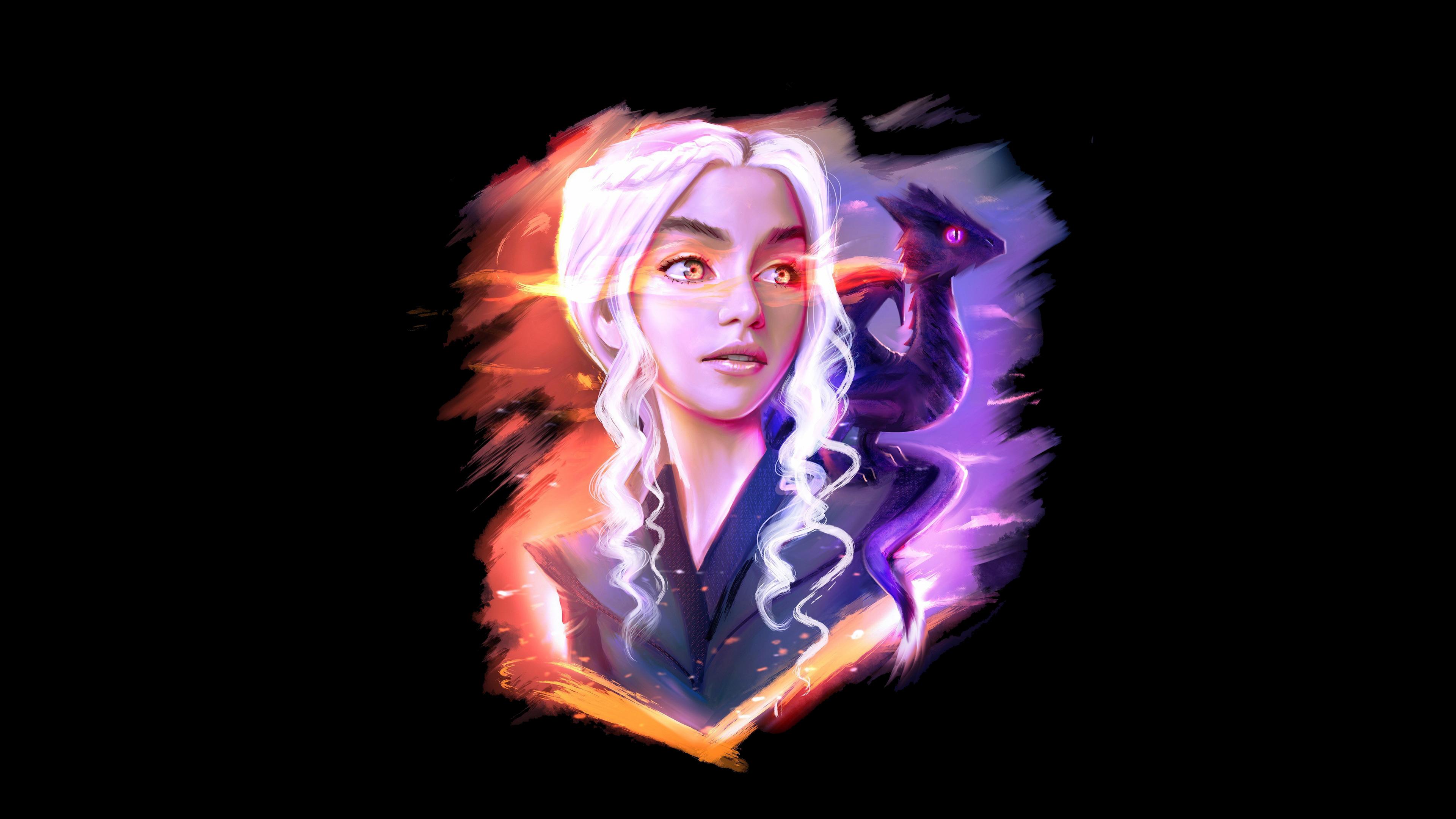 Wallpaper 4k Daenerys Targaryen And Dragon Fan Art 4k Artist