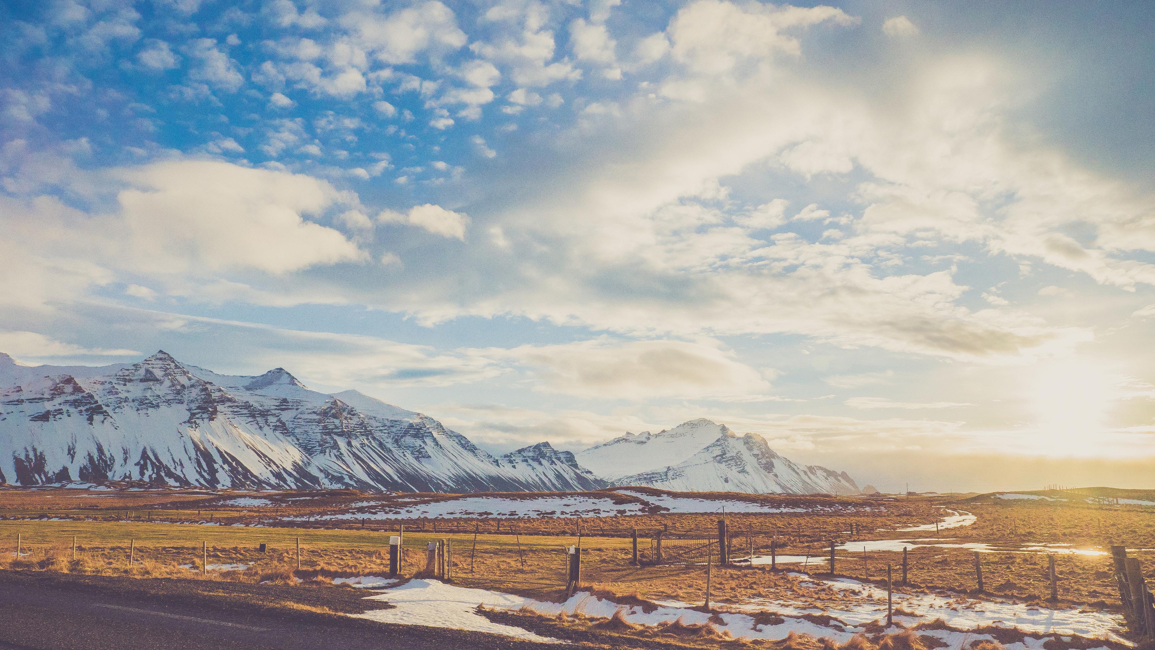daylight risen sun snowy mountains road 4k 1540136351 - Daylight Risen Sun Snowy Mountains Road 4k - snow wallpapers, road wallpapers, photography wallpapers, nature wallpapers, mountains wallpapers, hd-wallpapers, 4k-wallpapers