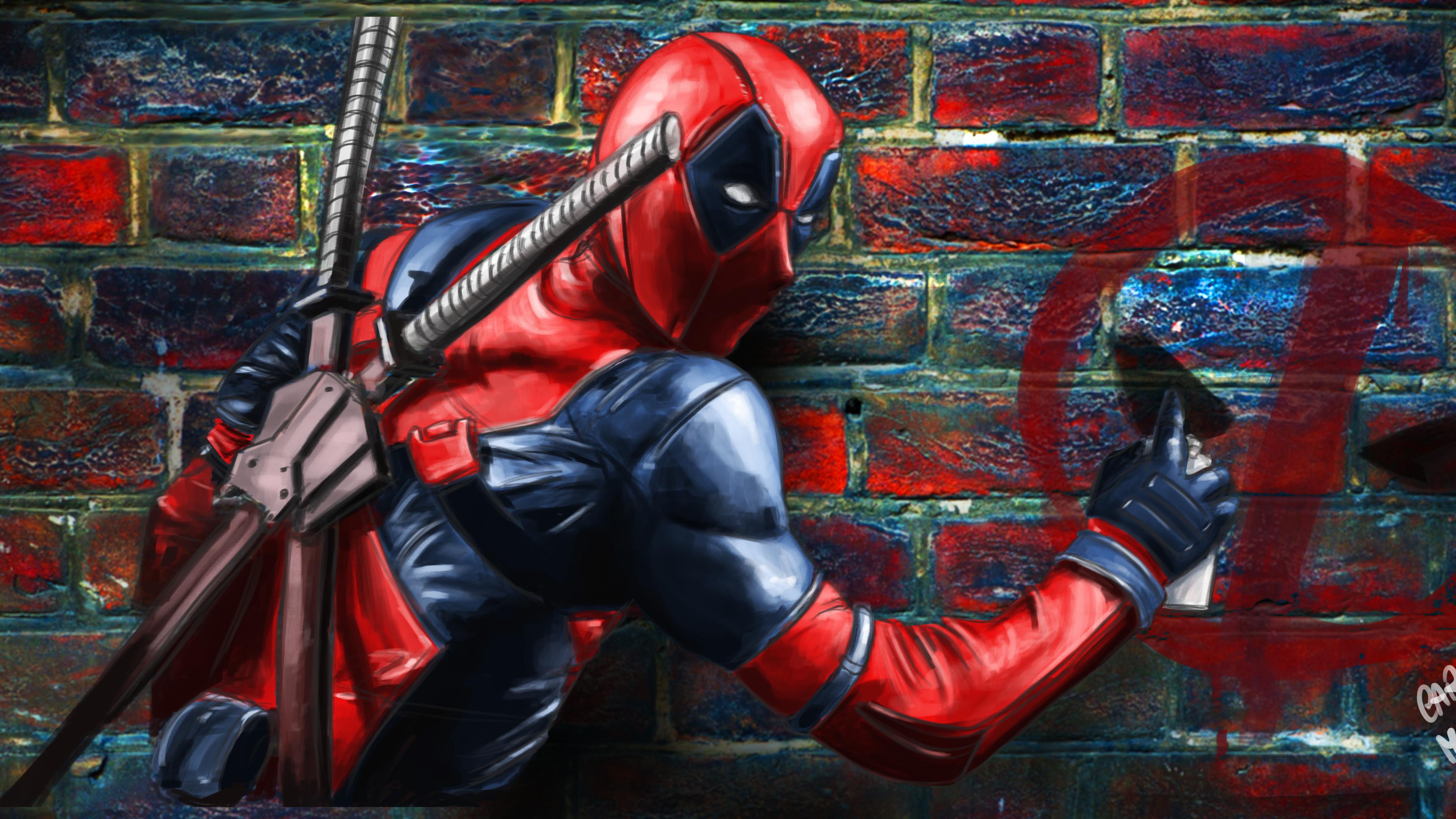 deadpool painting on the wall 1539452804 - Deadpool Painting On The Wall - superheroes wallpapers, hd-wallpapers, funny wallpapers, digital art wallpapers, deadpool wallpapers, artwork wallpapers, artist wallpapers, 5k wallpapers, 4k-wallpapers