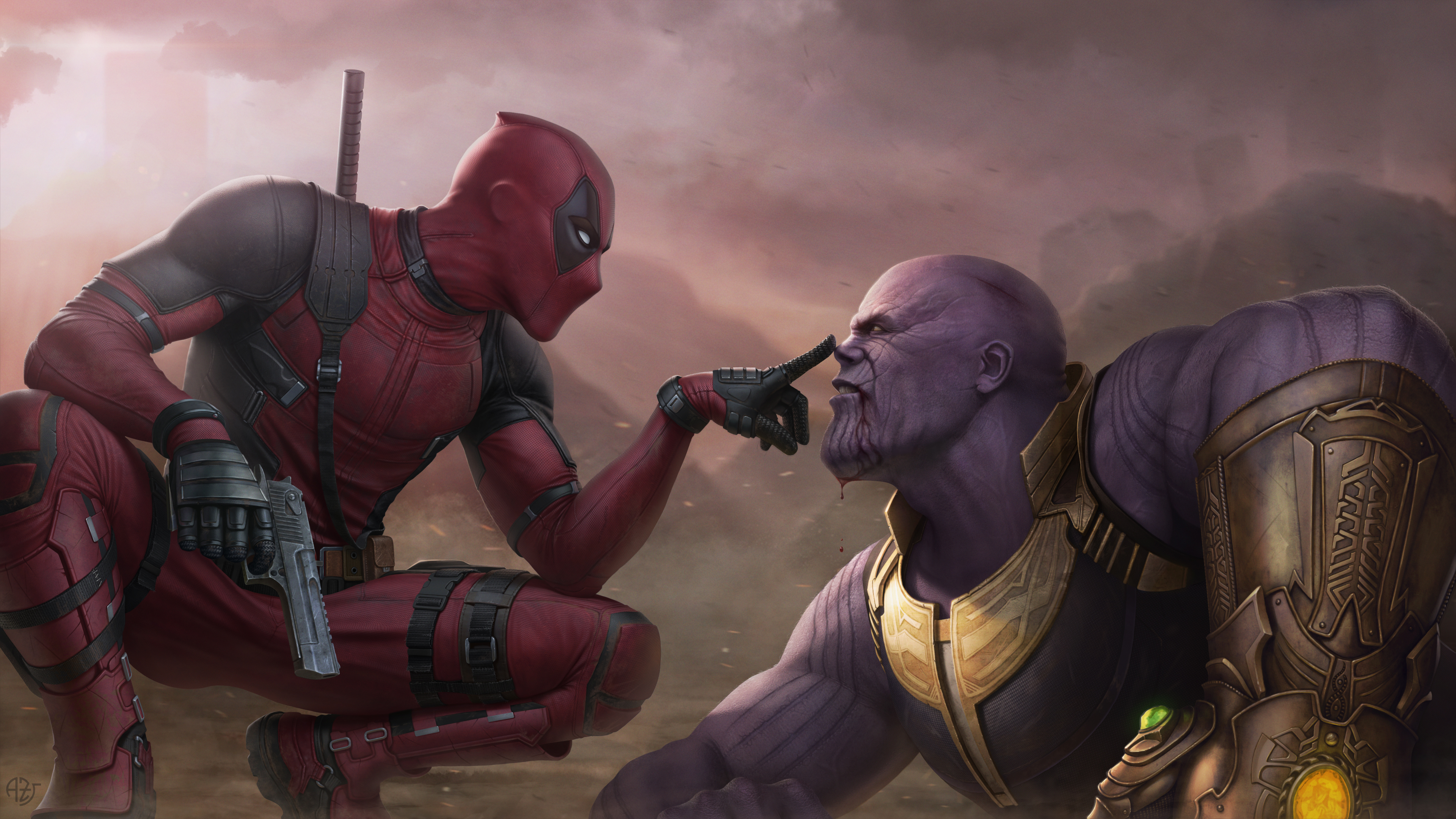 deadpool vs thanos 4k 1538786550 - Deadpool Vs Thanos 4k - thanos-wallpapers, supervillain wallpapers, superheroes wallpapers, hd-wallpapers, digital art wallpapers, deadpool wallpapers, artwork wallpapers, artstation wallpapers, 4k-wallpapers