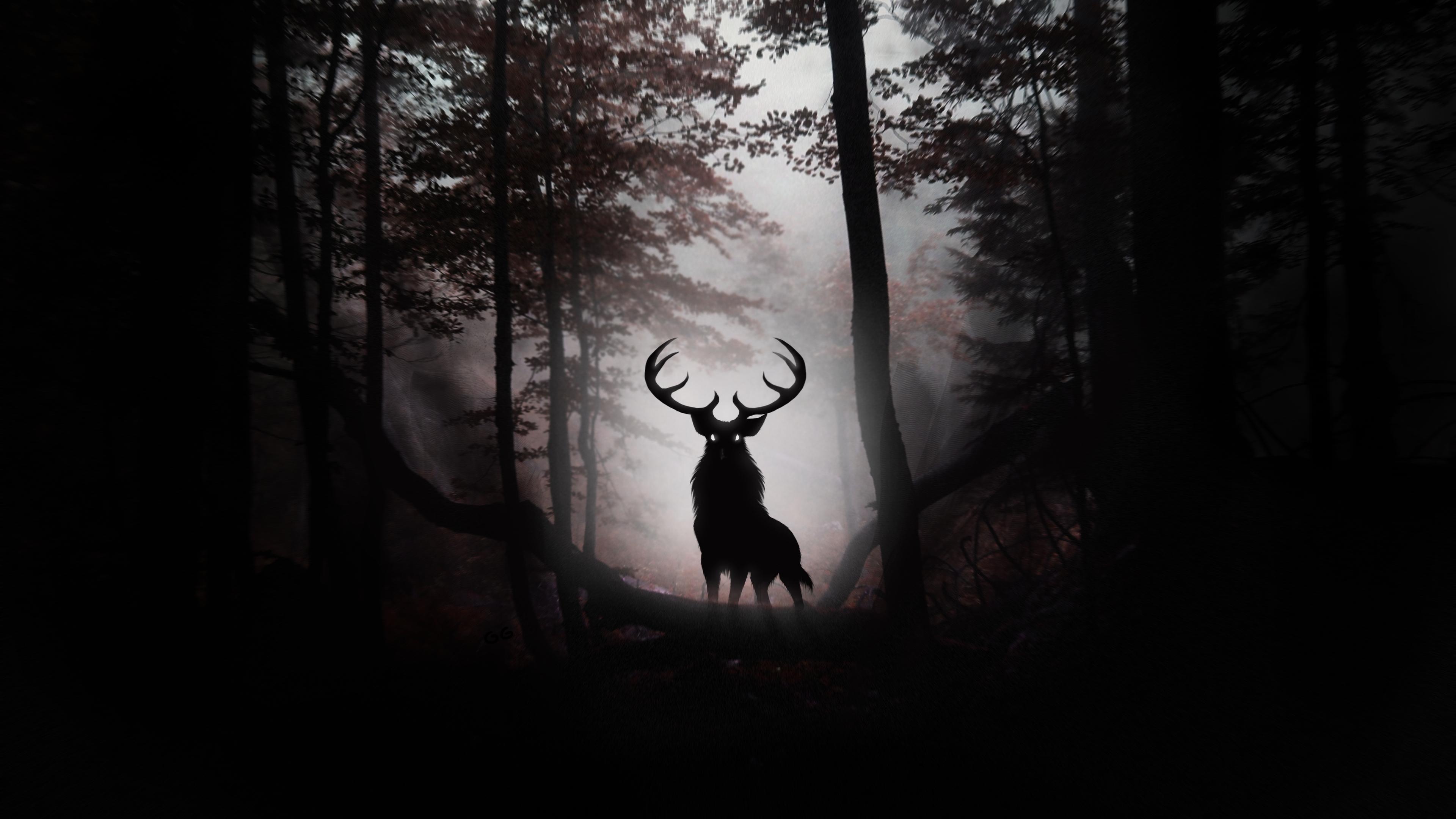 deer fantasy artwork 4k 1540748888 - Deer Fantasy Artwork 4k - hd-wallpapers, forest wallpapers, digital art wallpapers, deer wallpapers, artist wallpapers, animals wallpapers, 4k-wallpapers
