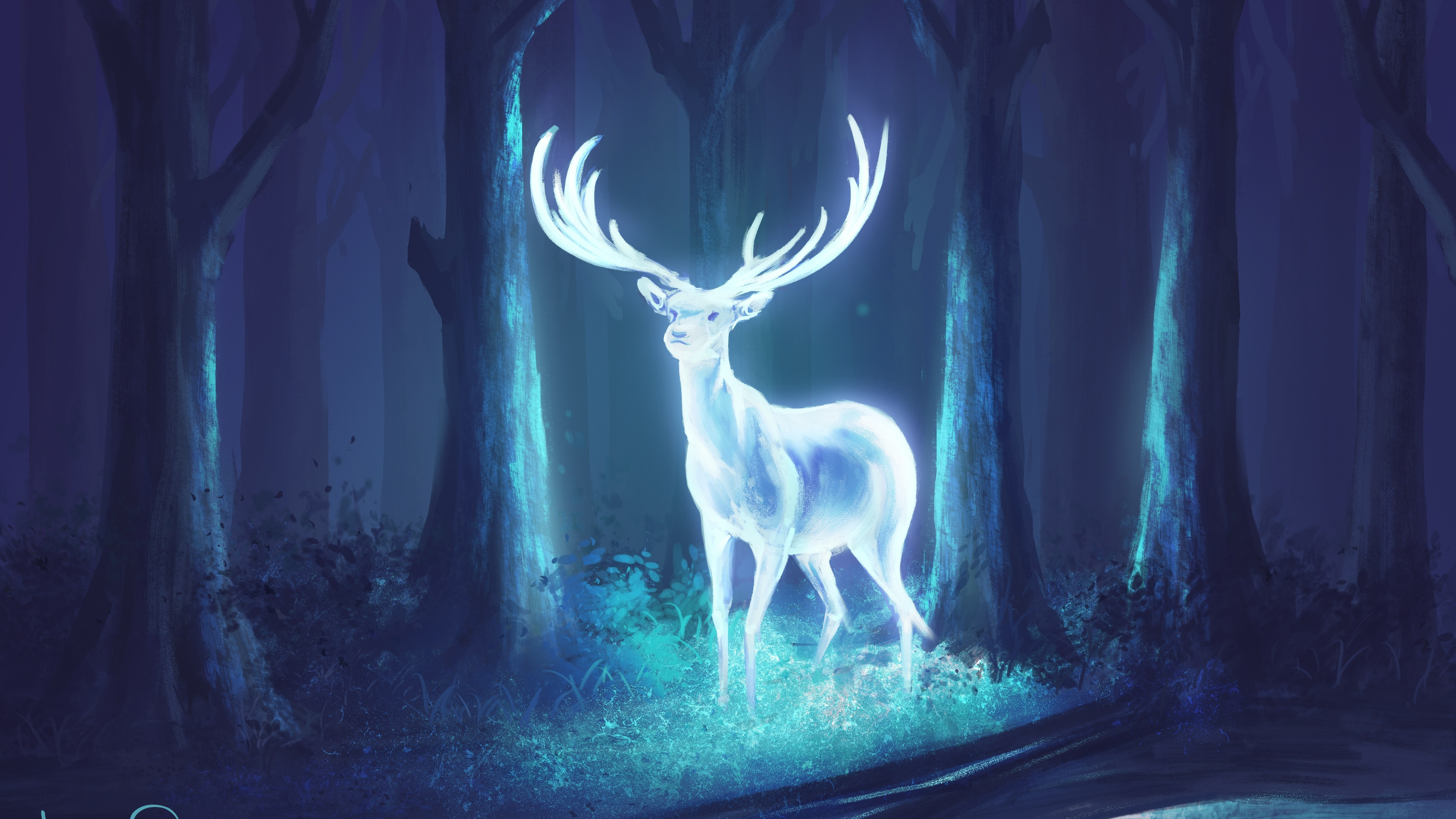 deer fantasy artwork 4k 1540751687 - Deer Fantasy Artwork 4k - hd-wallpapers, forest wallpapers, fantasy wallpapers, digital art wallpapers, deer wallpapers, artwork wallpapers, artist wallpapers, 4k-wallpapers
