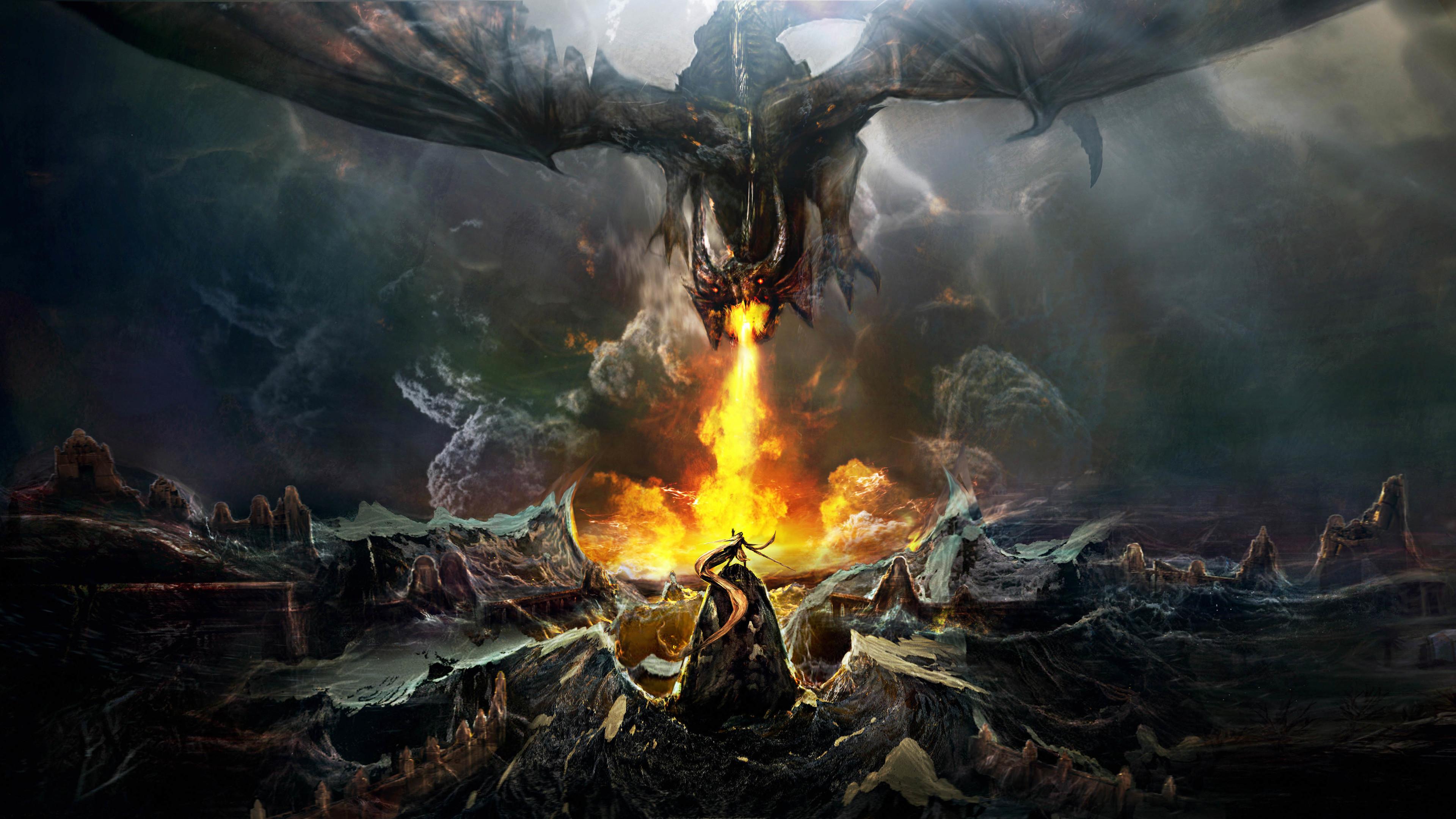 dragon throwing fire on warrior 4k 1540751500 - Dragon Throwing Fire On Warrior 4k - warrior wallpapers, hd-wallpapers, fire wallpapers, dragon wallpapers, digital art wallpapers, deviantart wallpapers, artist wallpapers, 5k wallpapers, 4k-wallpapers
