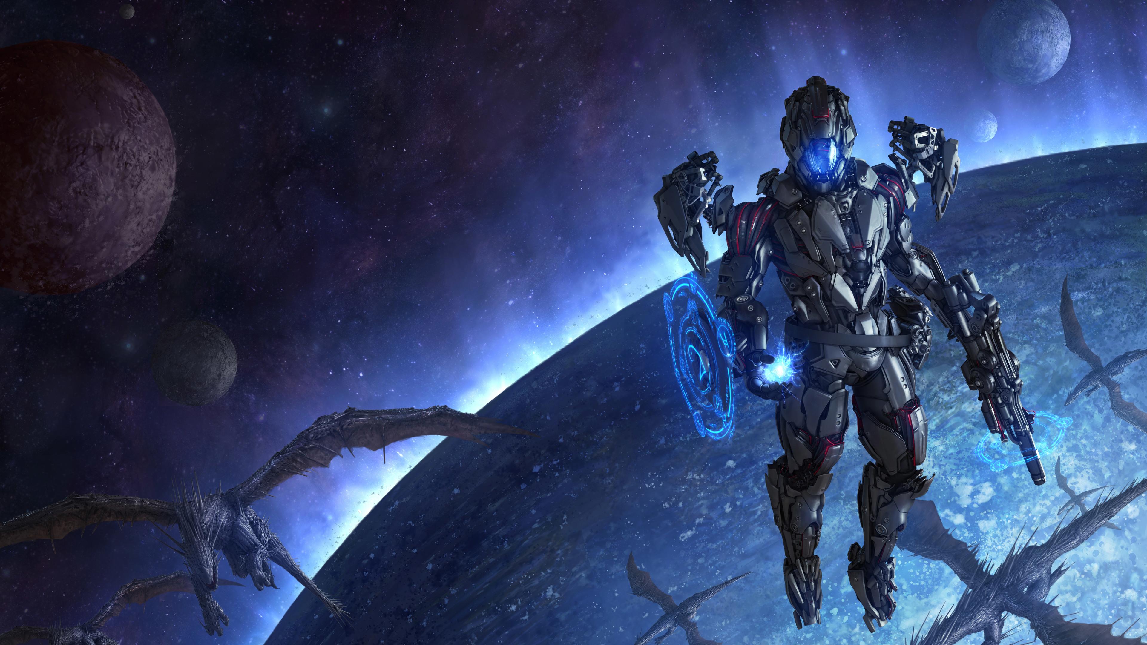 Wallpaper 4k Dragons Scifi Space Cyborg Space 4k 4k