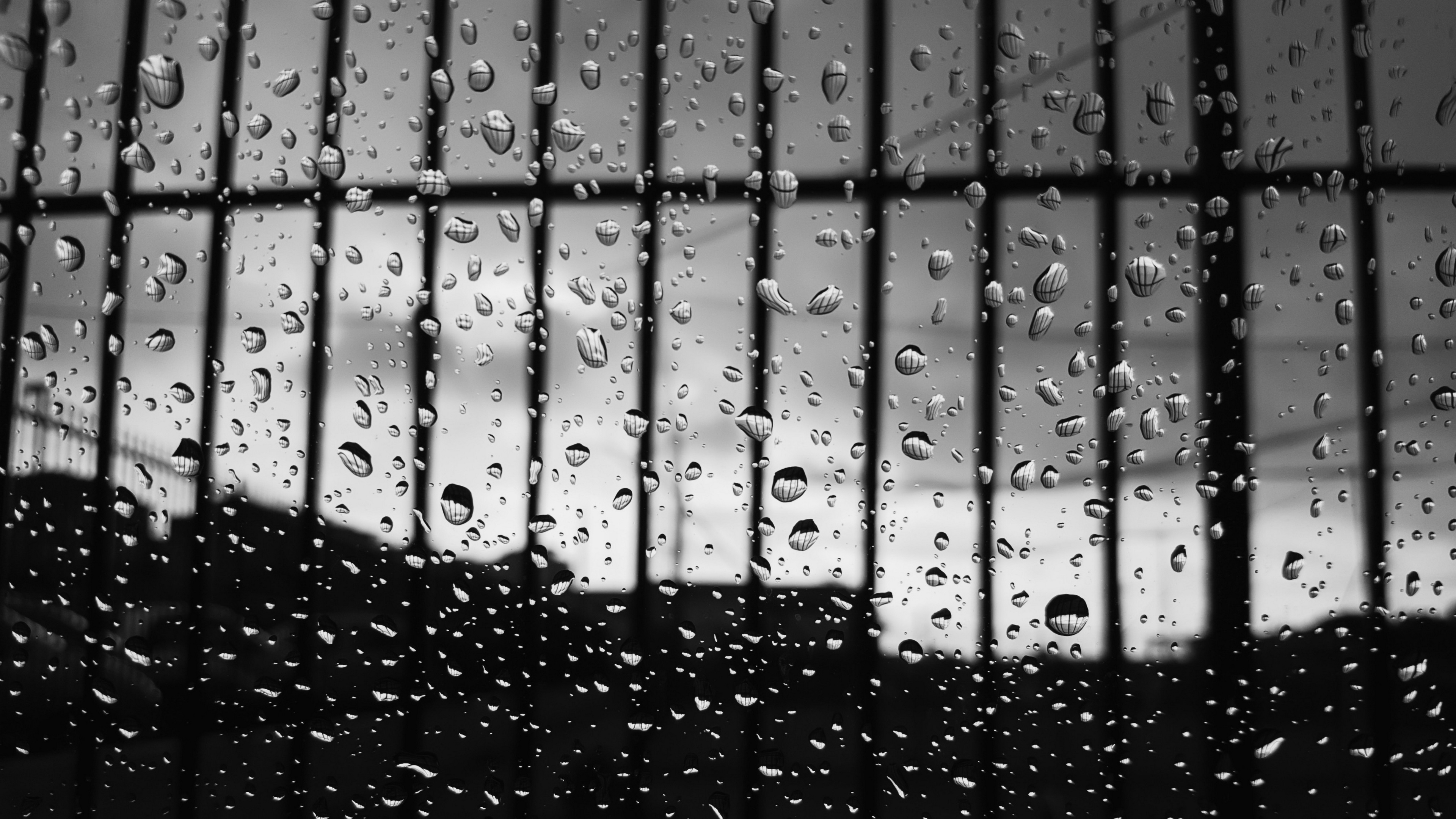drops glass surface bw 4k 1540575213 - drops, glass, surface, bw 4k - Surface, Glass, Drops