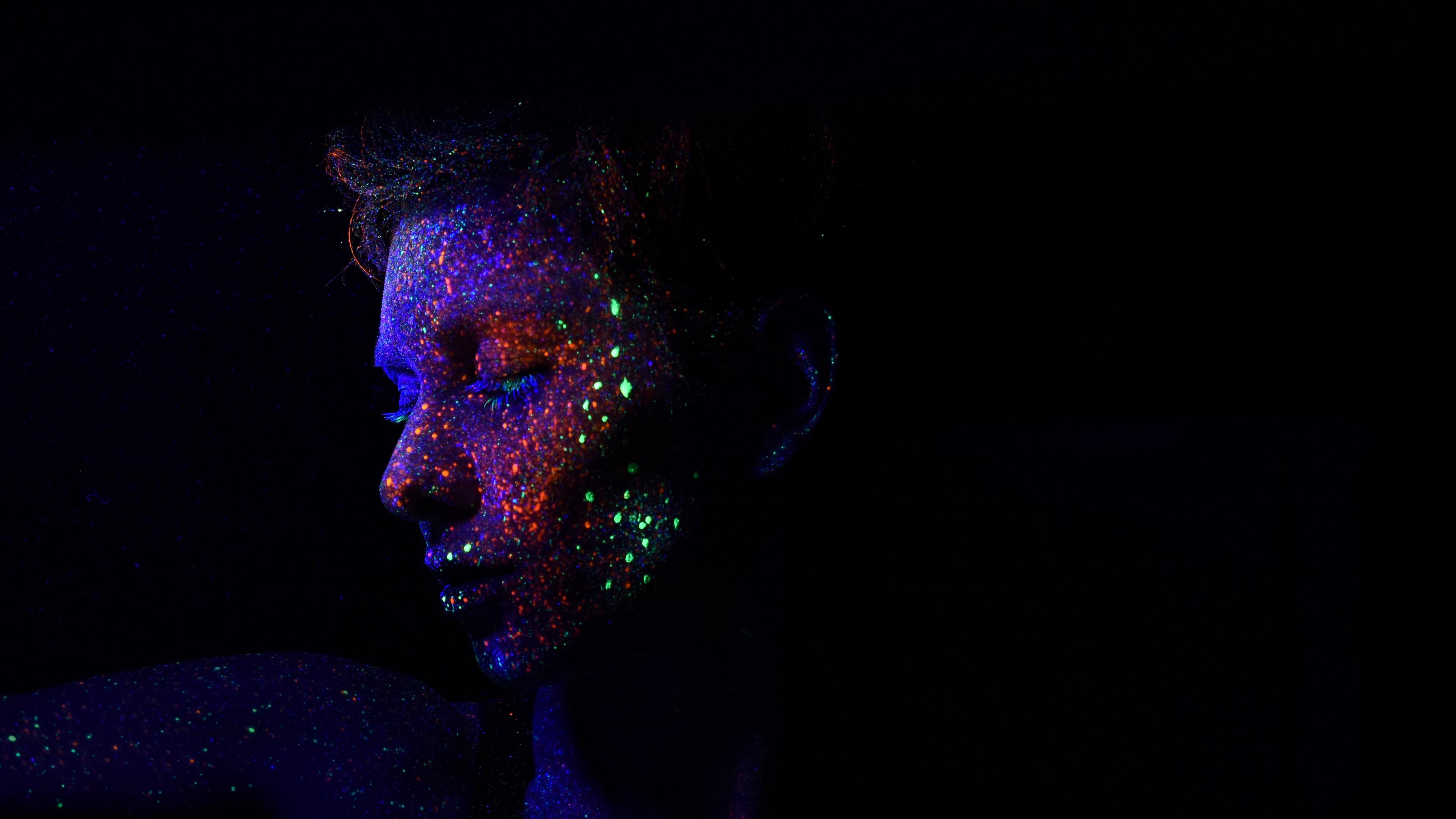 face sequins makeup ultraviolet glow shine 4k 1540576156 - face, sequins, makeup, ultraviolet, glow, shine 4k - sequins, Makeup, Face