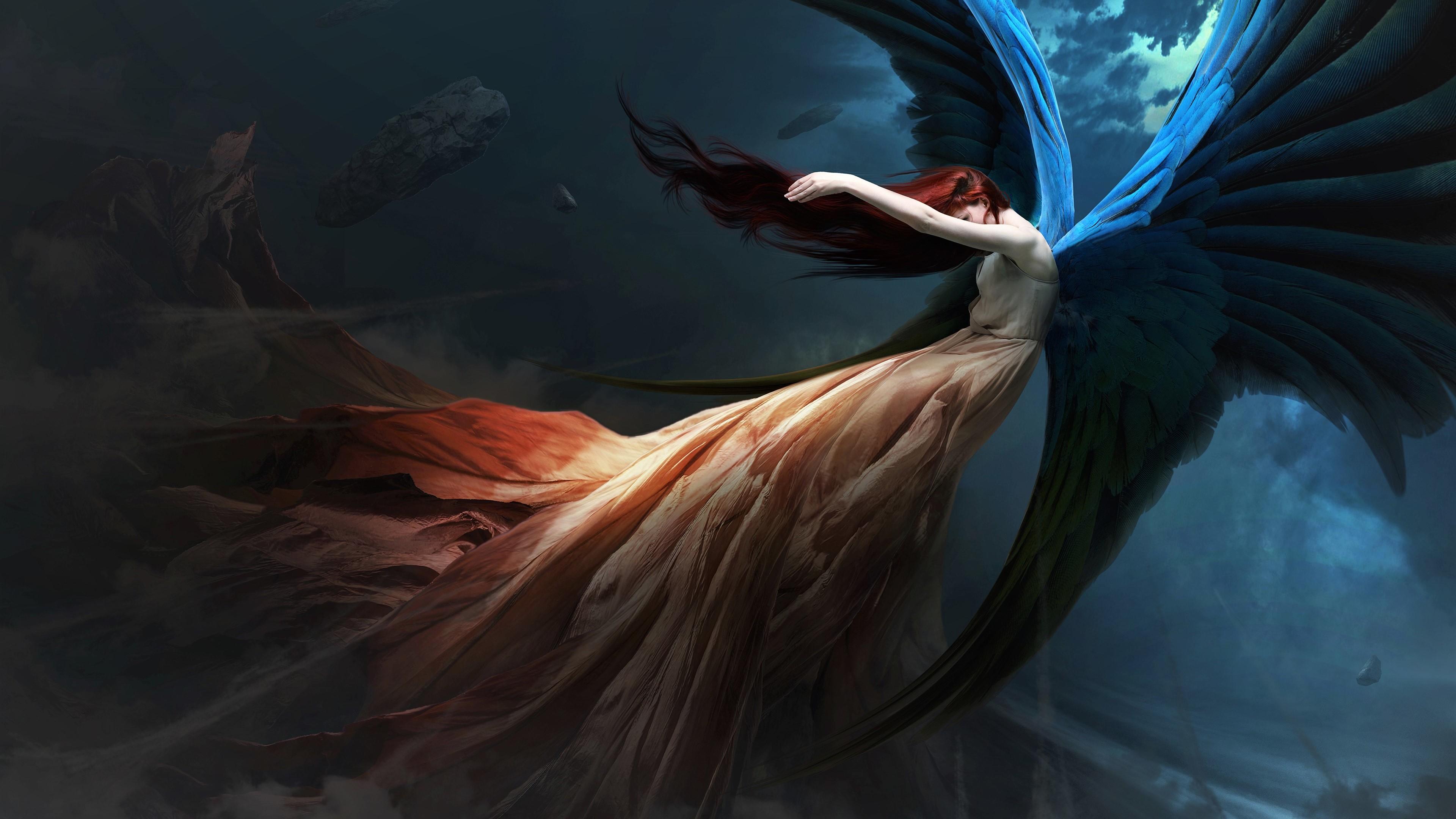 Wallpaper 4k Fantasy Angel Redhead Wings 4k 4k Wallpapers