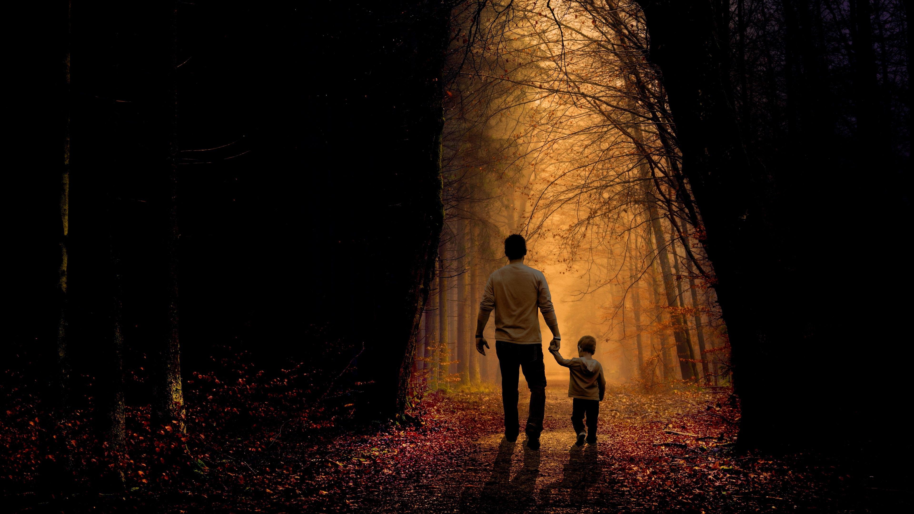father son family child forest 4k 1540576112 - father, son, family, child, forest 4k - Son, Father, Family