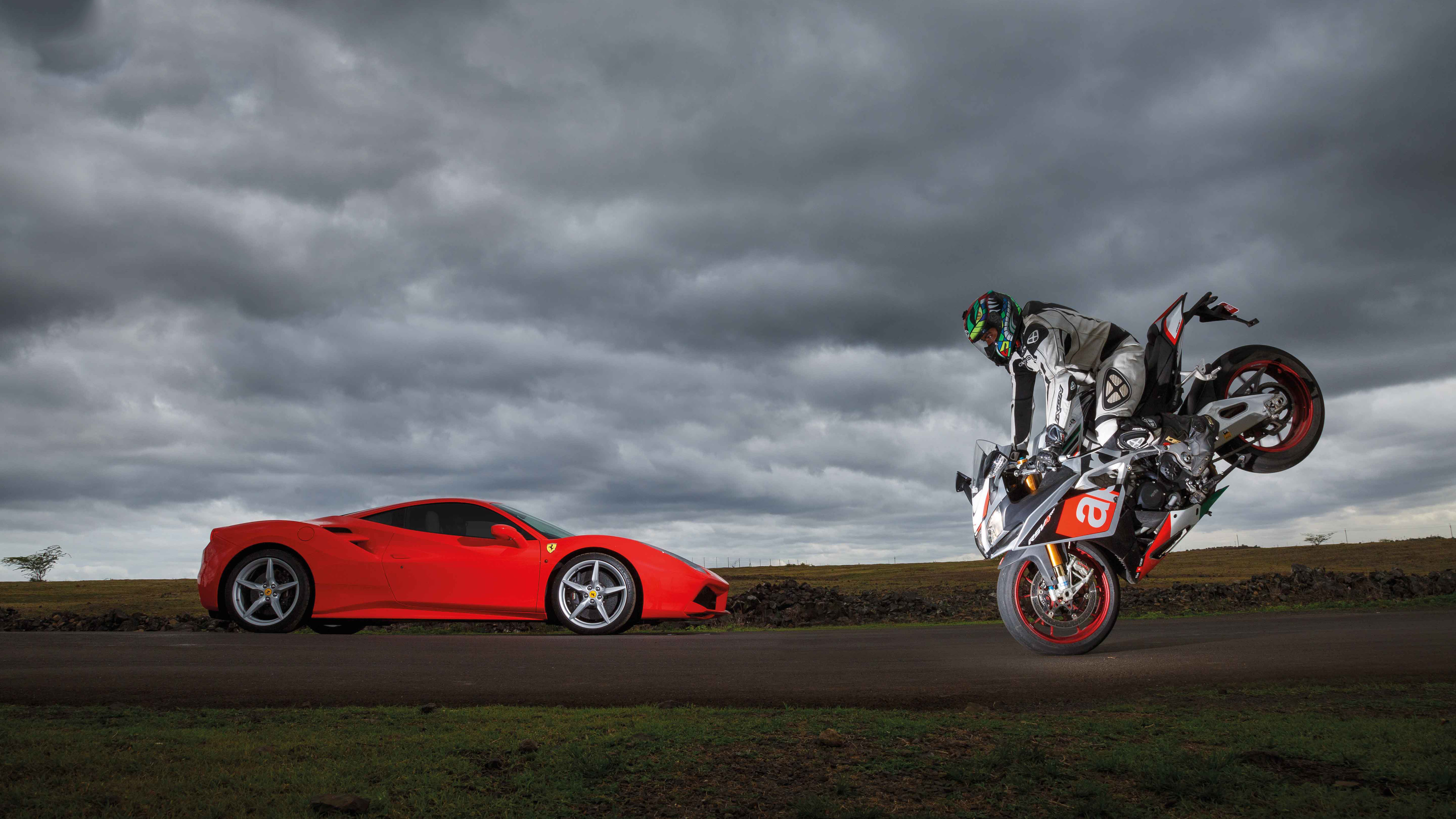 ferrari 488 gtb vs aprilia rsv4 1539792944 - Ferrari 488 GTB Vs Aprilia RSV4 - hd-wallpapers, ferrari wallpapers, ferrari 488 wallpapers, cars wallpapers, aprilia wallpapers, 5k wallpapers, 4k-wallpapers