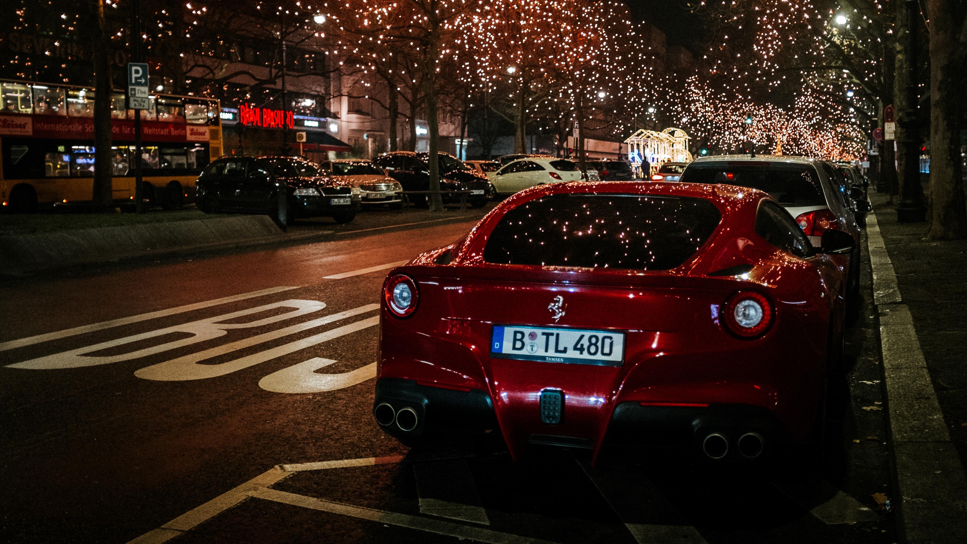 ferrari rear view red night city scenery 4k 1538935278 - ferrari, rear view, red, night city, scenery 4k - red, rear view, Ferrari
