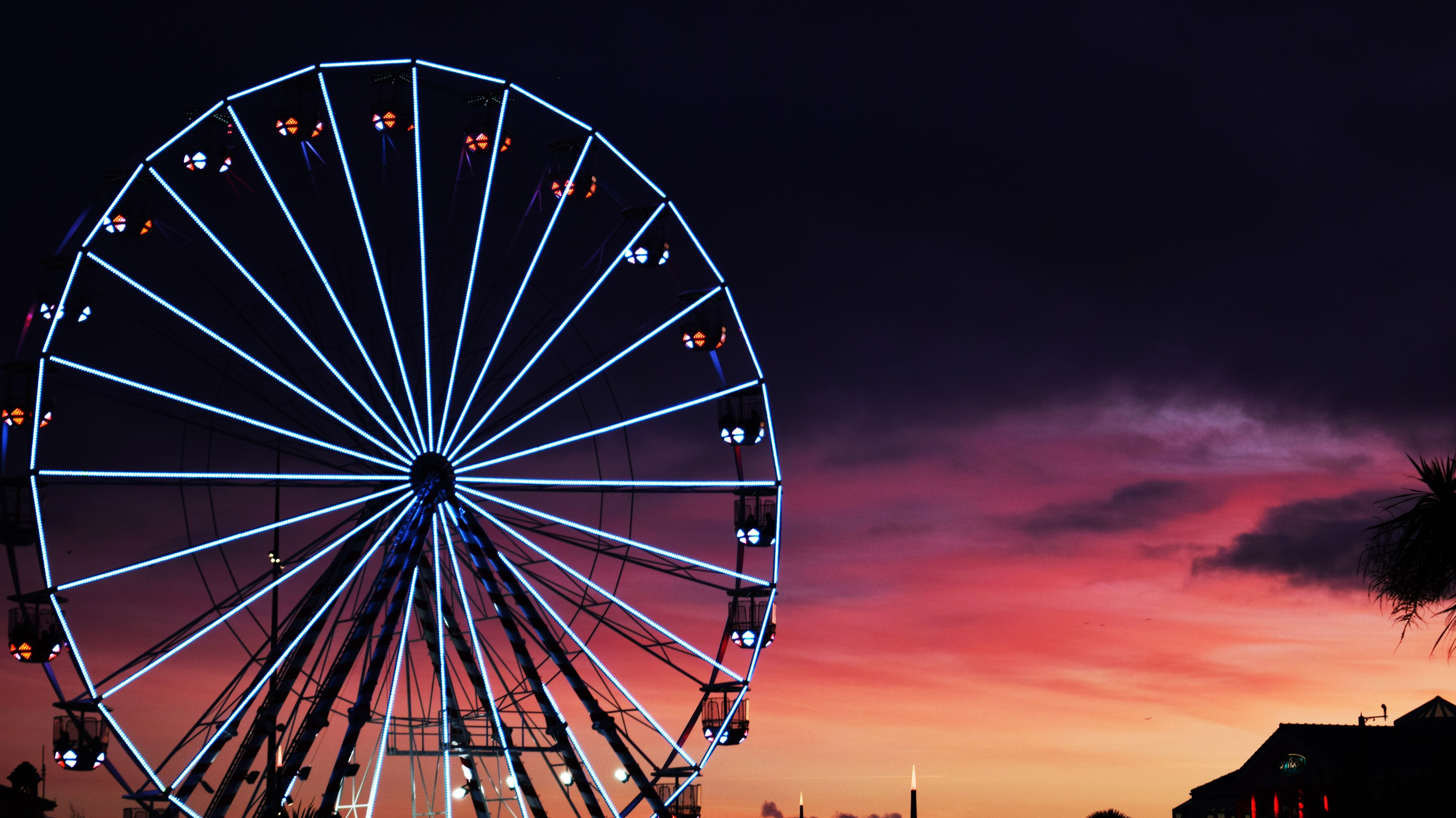 ferris wheel sunset clouds 4k 1540135754 - Ferris Wheel Sunset Clouds 4k - world wallpapers, sunset wallpapers, london wallpapers, hd-wallpapers, ferris wheel wallpapers, clouds wallpapers, 5k wallpapers, 4k-wallpapers