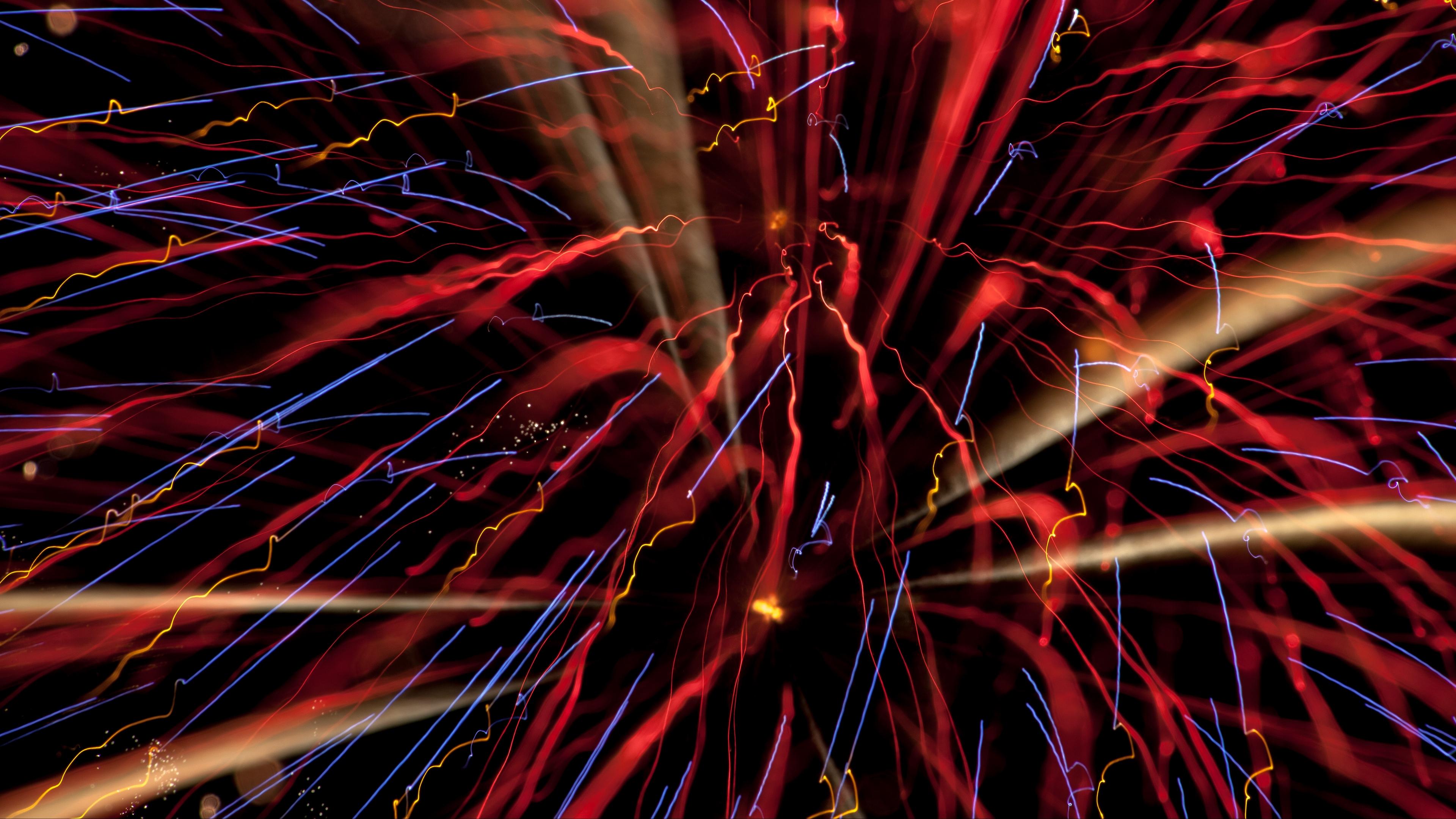 fireworks salute sparks rays red 4k 1539369878 - fireworks, salute, sparks, rays, red 4k - Sparks, salute, Fireworks