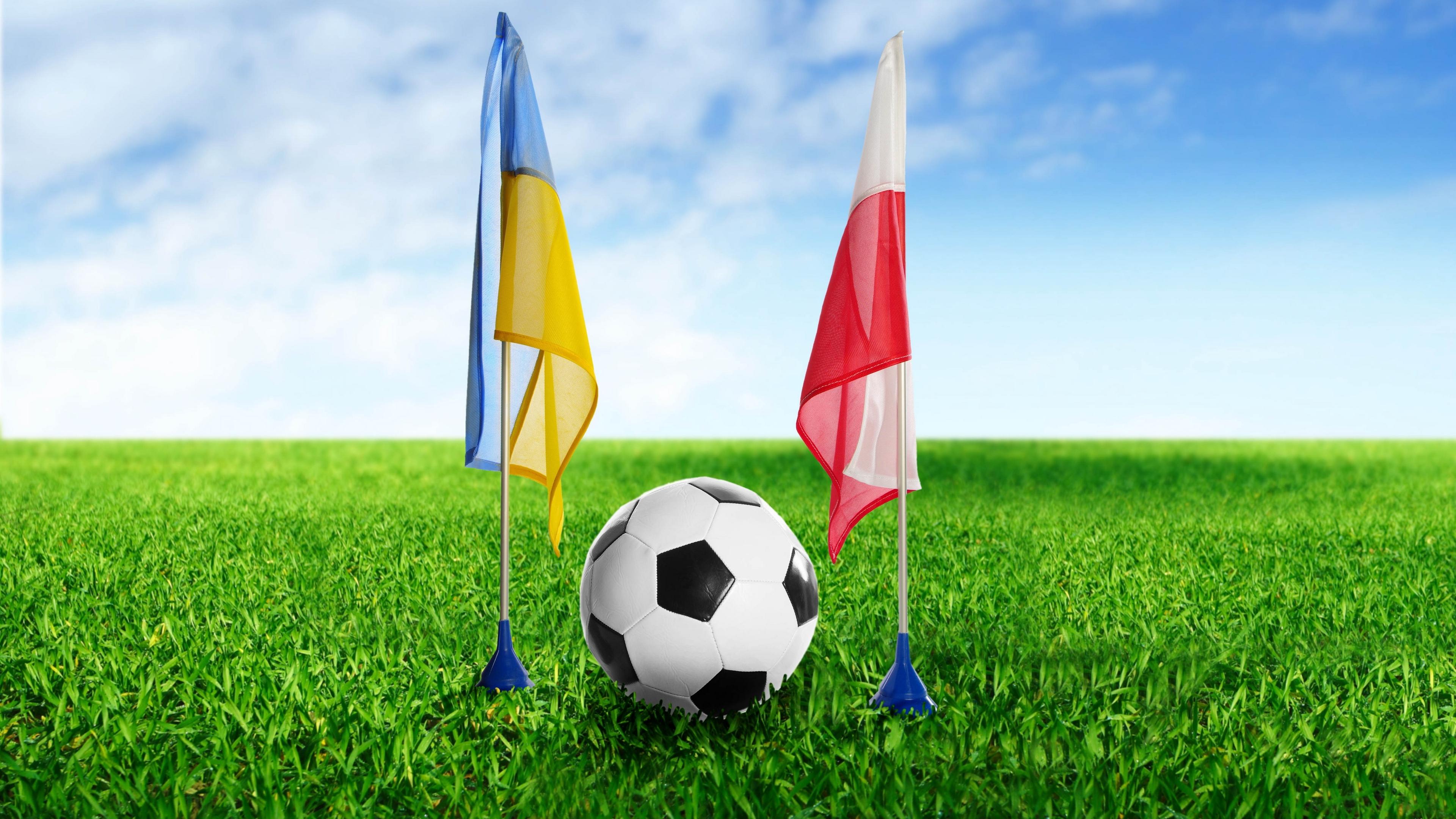 football ukraine poland ball grass flags 4k 1540062329 - football, ukraine, poland, ball, grass, flags 4k - Ukraine, Poland, Football