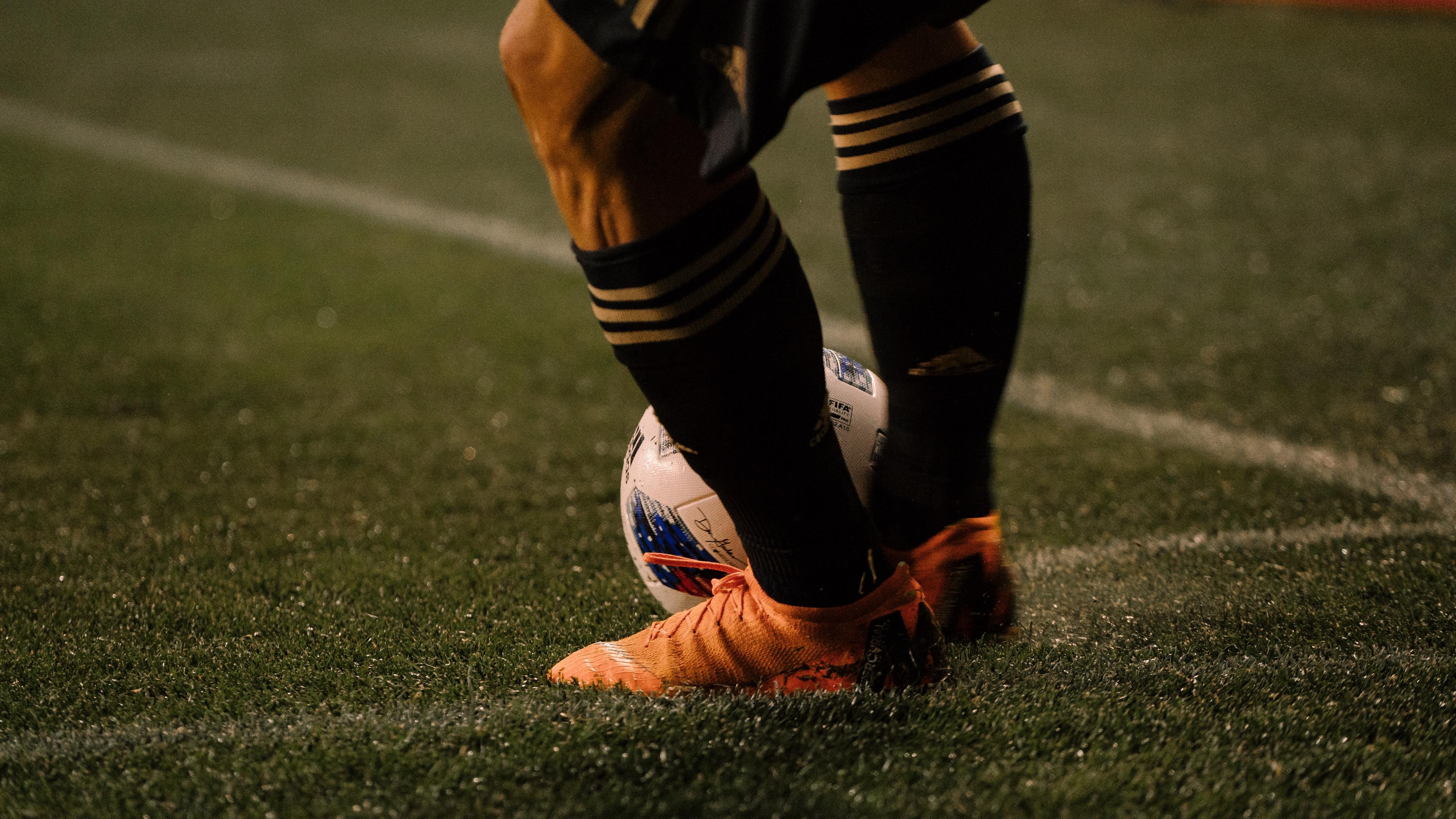 footballer ball football boots lawn half hose 4k 1540061047 - footballer, ball, football boots, lawn, half-hose 4k - footballer, football boots, Ball