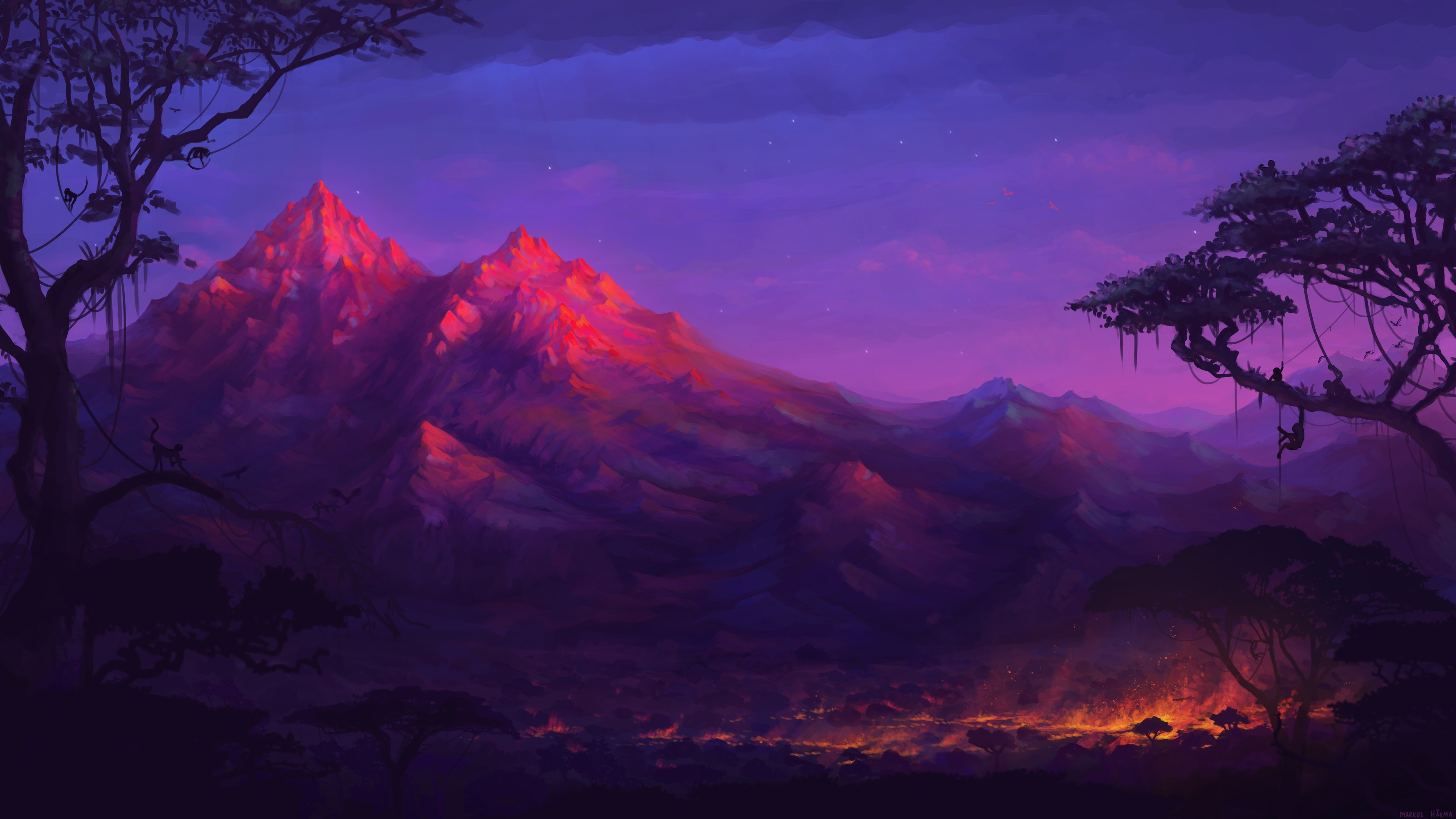 forest mountains colorful night trees fantasy artwork 4k 1540754661 - Forest Mountains Colorful Night Trees Fantasy Artwork 4k - hd-wallpapers, forest wallpapers, fantasy wallpapers, digital art wallpapers, deviantart wallpapers, colorful wallpapers, artwork wallpapers, artist wallpapers, 5k wallpapers, 4k-wallpapers