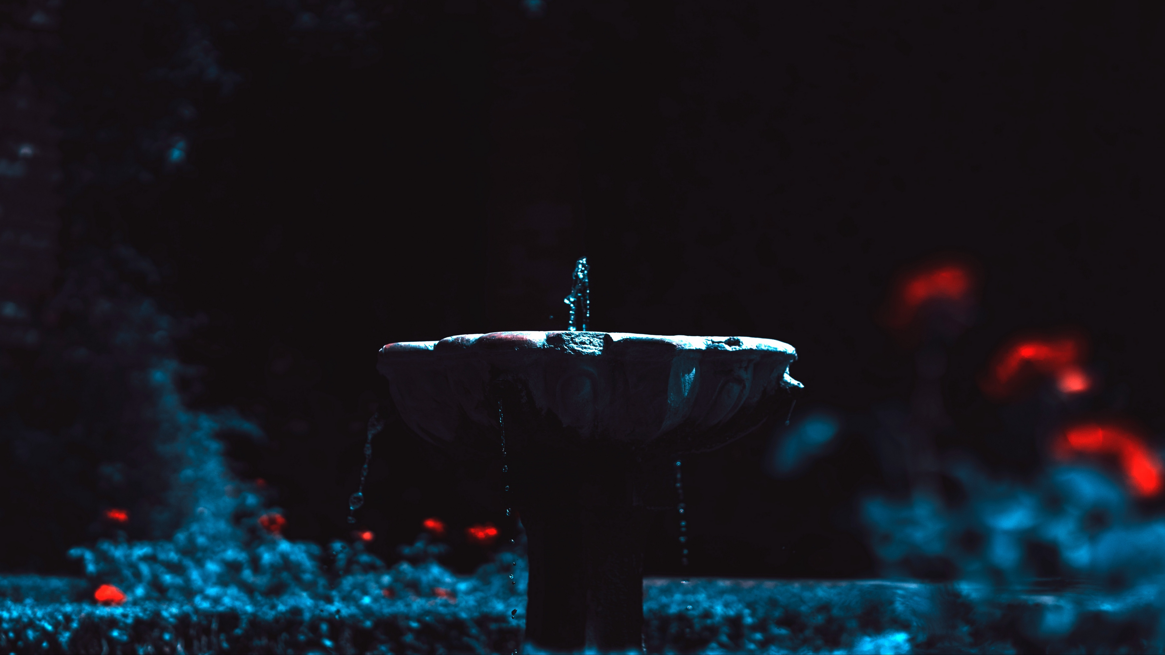 fountain jet water blur dark 4k 1540575554 - fountain, jet, water, blur, dark 4k - Water, Jet, Fountain