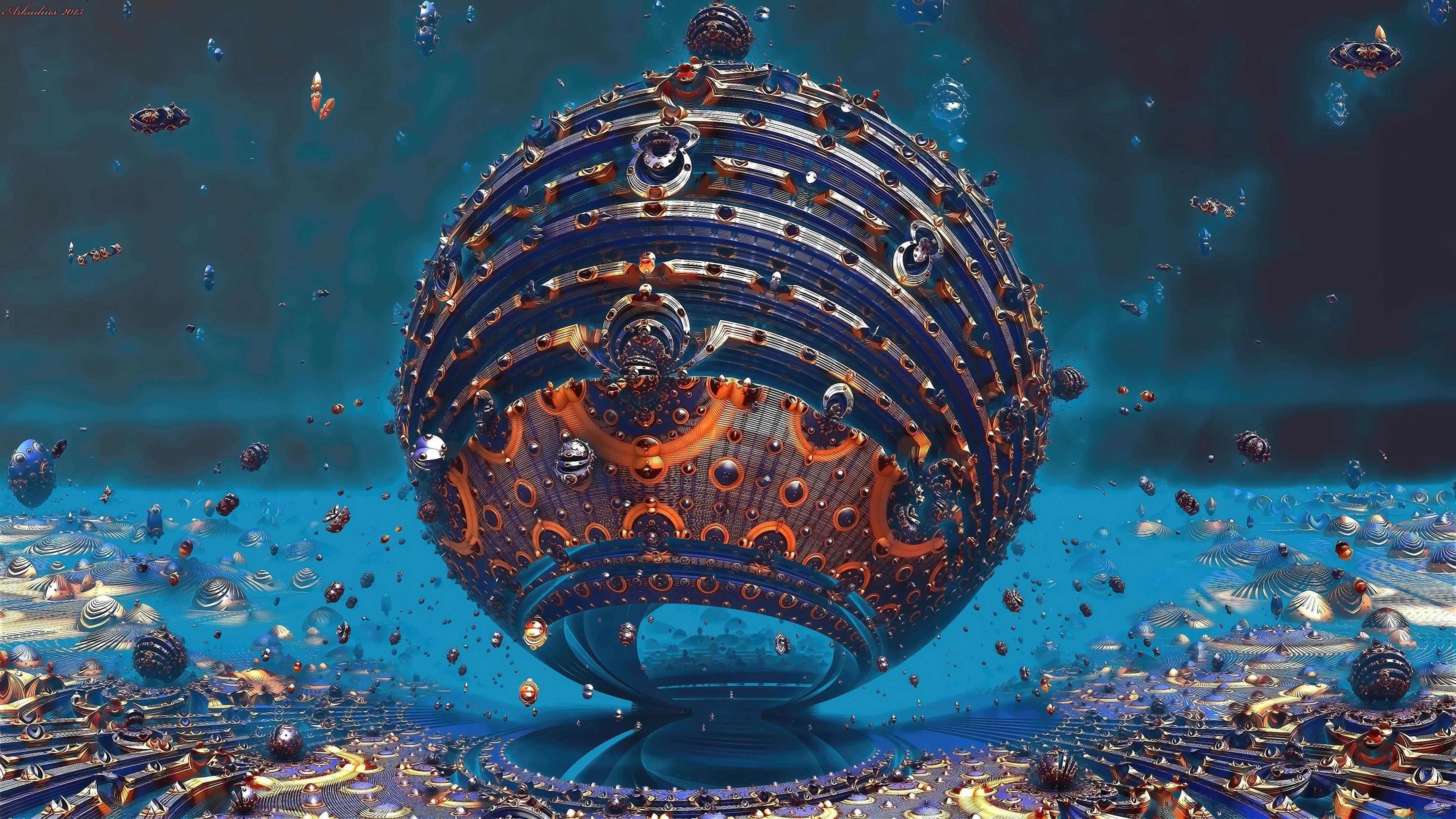 fractal sphere 3d 4k 1540752901 - Fractal Sphere 3D 4K - sphere wallpapers, hd-wallpapers, fractal wallpapers, 4k-wallpapers, 3d wallpapers