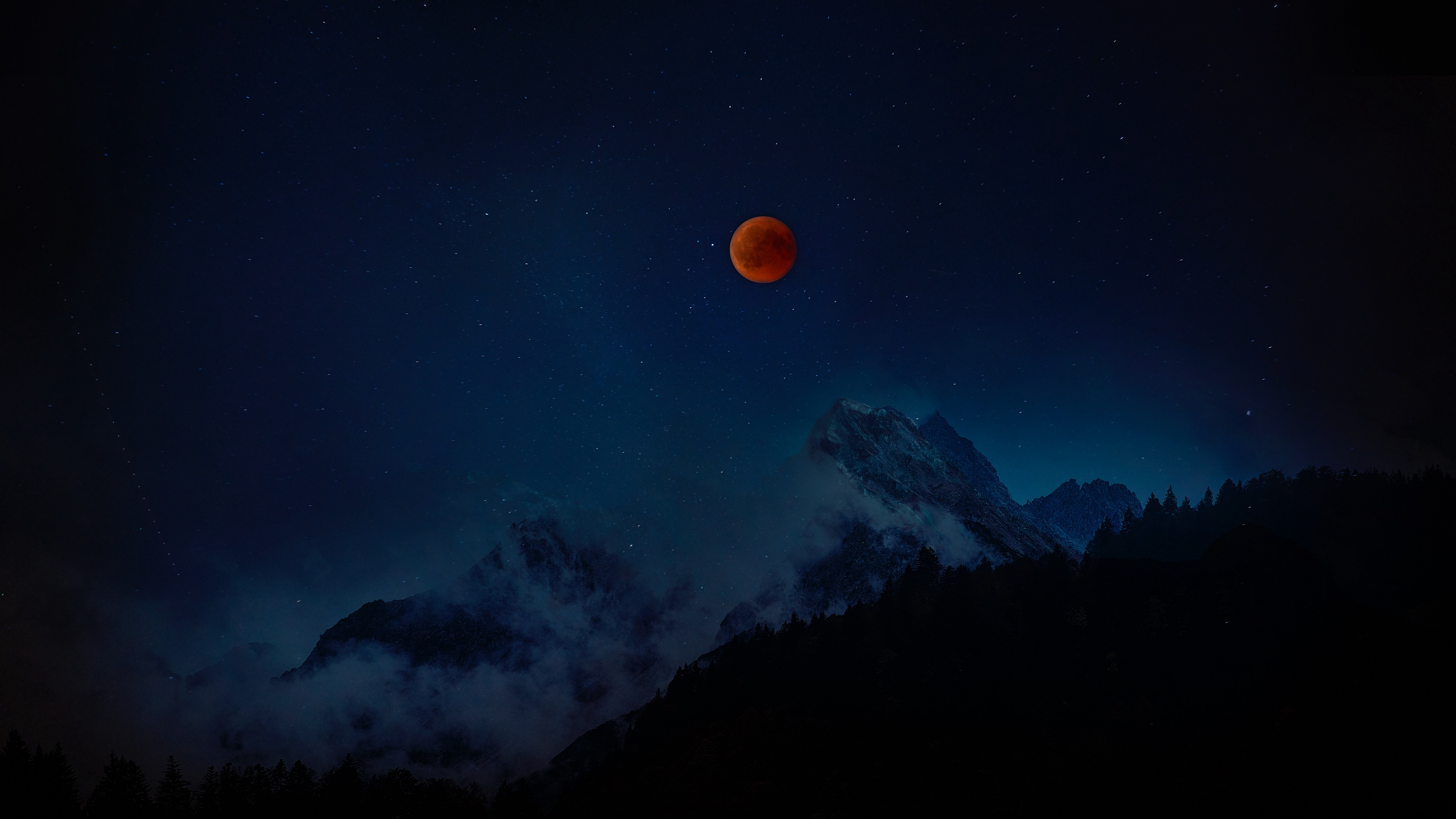 full moon red moon starry sky mountains night 4k 1540576100 - full moon, red moon, starry sky, mountains, night 4k - starry sky, red moon, full moon