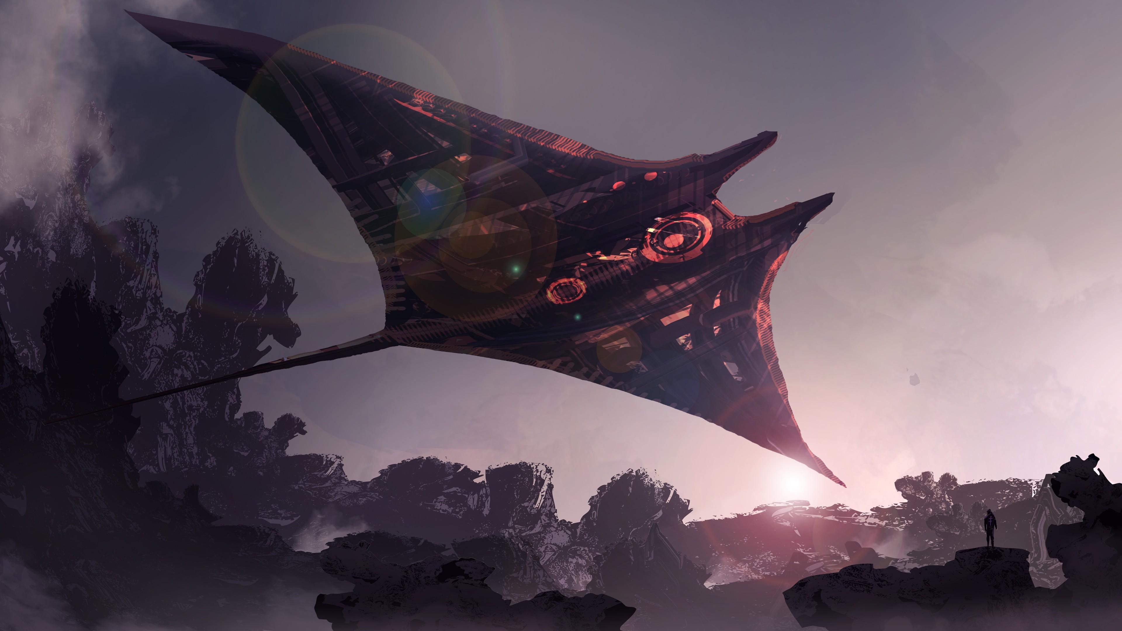futuristic spaceship science fiction digital art 4k 1540751283 - Futuristic Spaceship Science Fiction Digital Art 4k - spaceship wallpapers, hd-wallpapers, digital art wallpapers, deviantart wallpapers, artwork wallpapers, artistic wallpapers, 4k-wallpapers