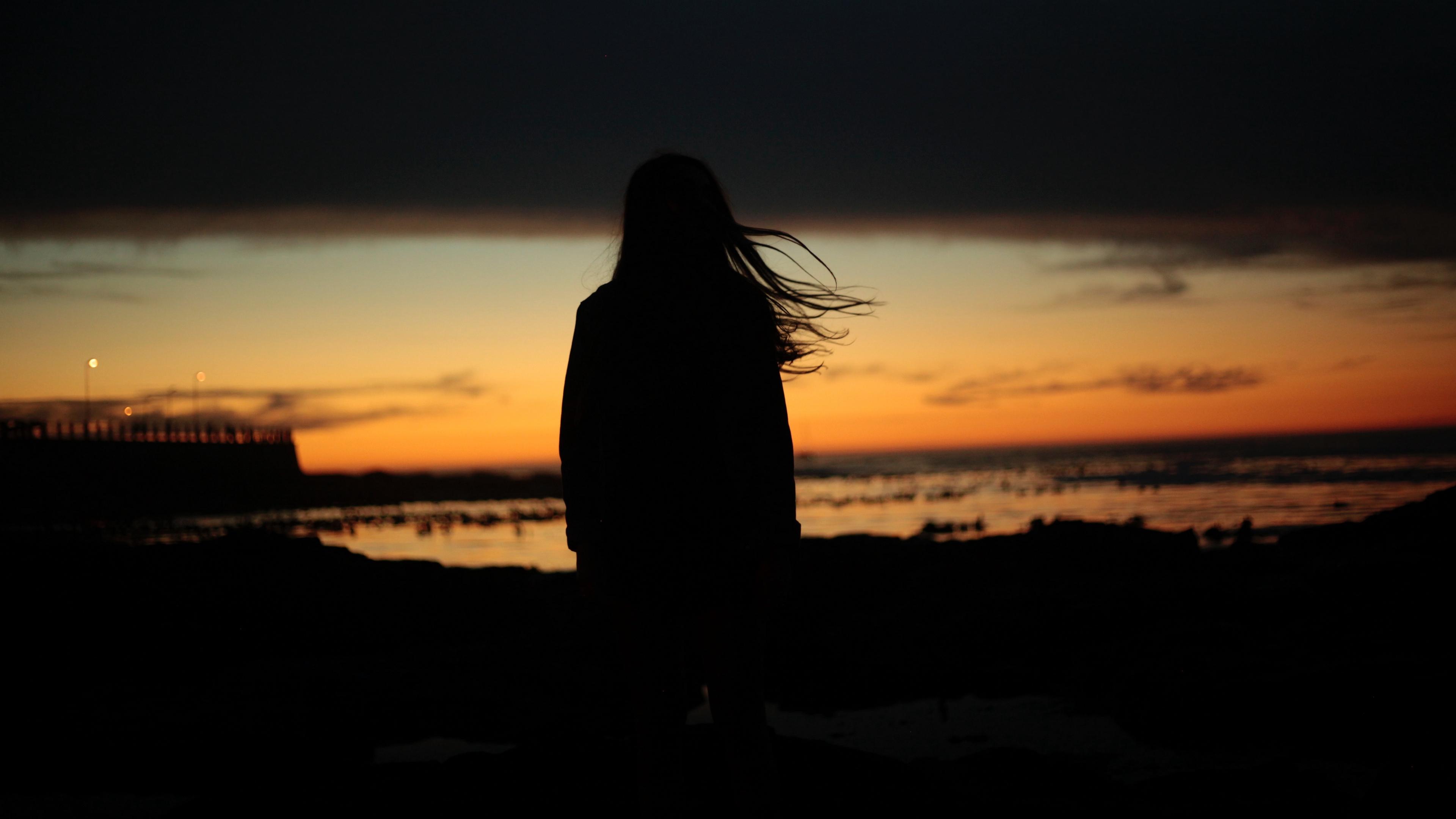 girl silhouette night hair wind 4k 1540575205 - girl, silhouette, night, hair, wind 4k - Silhouette, Night, Girl