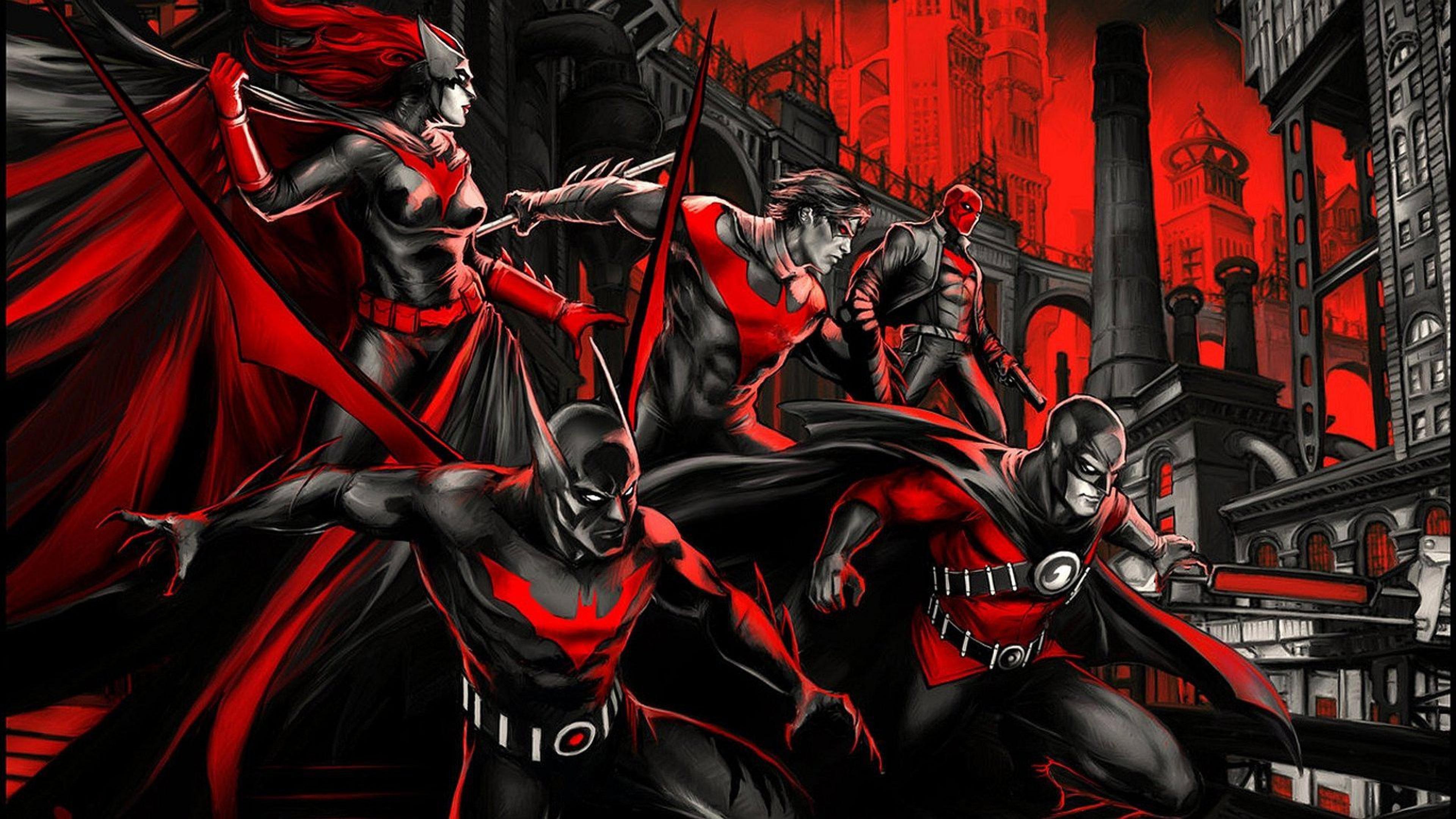 gotham in red 1538786525 - Gotham In Red - superheroes wallpapers, robin wallpapers, red hood wallpapers, nightwing wallpapers, hd-wallpapers, gotham wallpapers, digital art wallpapers, batwoman wallpapers, batman wallpapers, artwork wallpapers, 4k-wallpapers