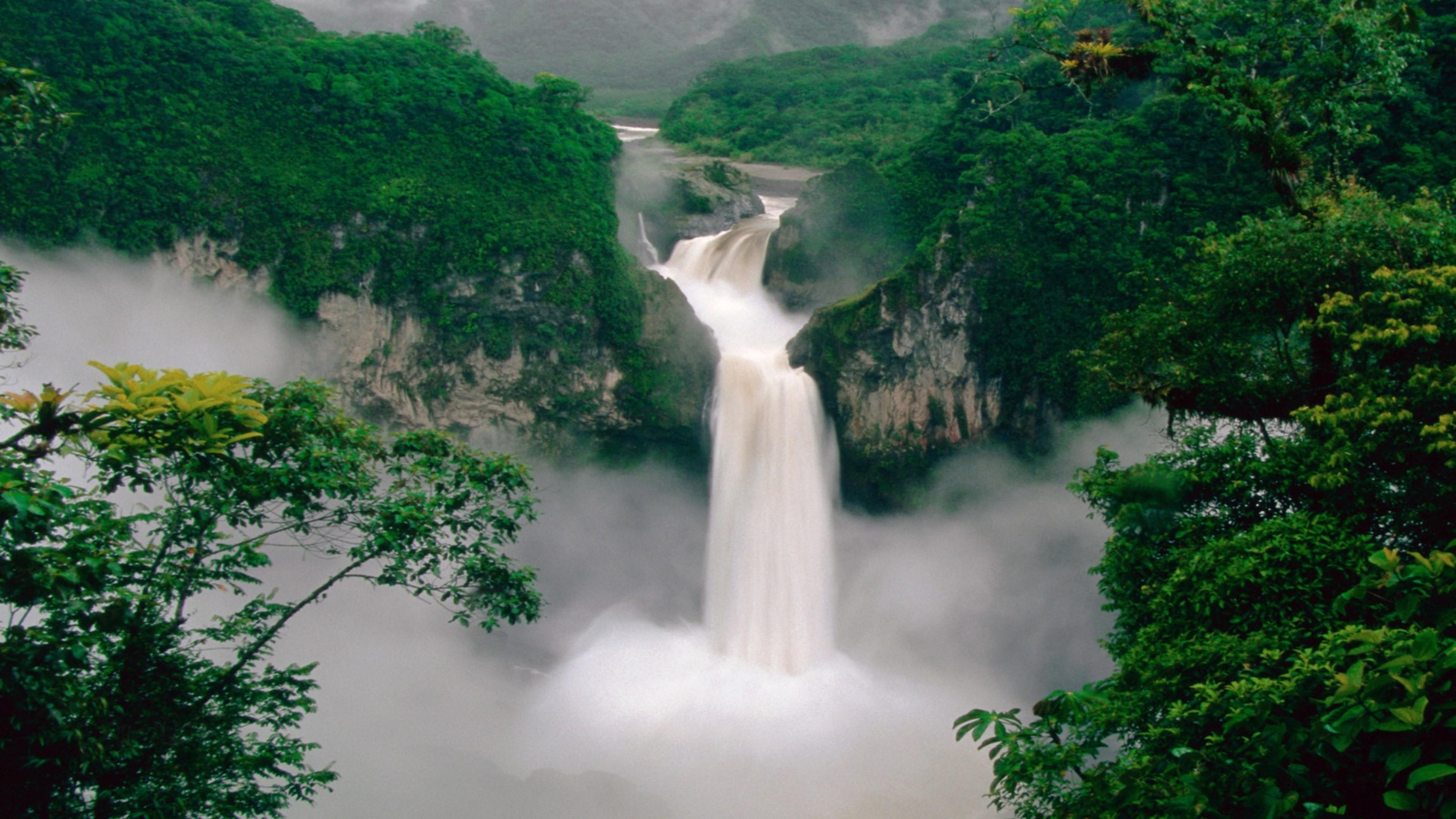 green forest waterfall 4k 1540131559 - Green Forest Waterfall 4k - waterfall wallpapers, nature wallpapers, green wallpapers, forest wallpapers