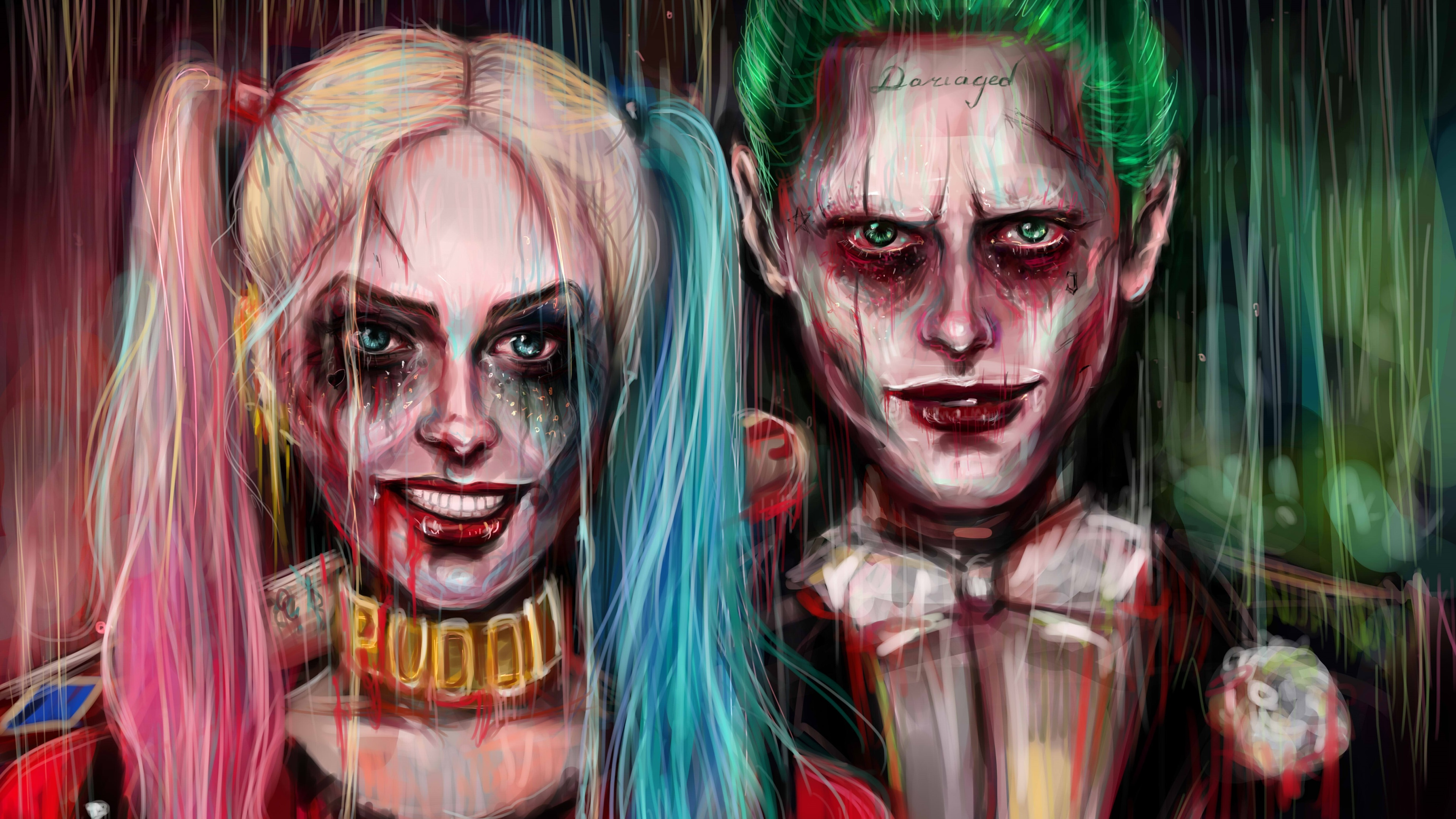 harley quinn joker painting artwork 4k 1540749125 - Harley Quinn Joker Painting Artwork 4k - suicide squad wallpapers, joker wallpapers, hd-wallpapers, harley quinn wallpapers, artwork wallpapers, 5k wallpapers, 4k-wallpapers