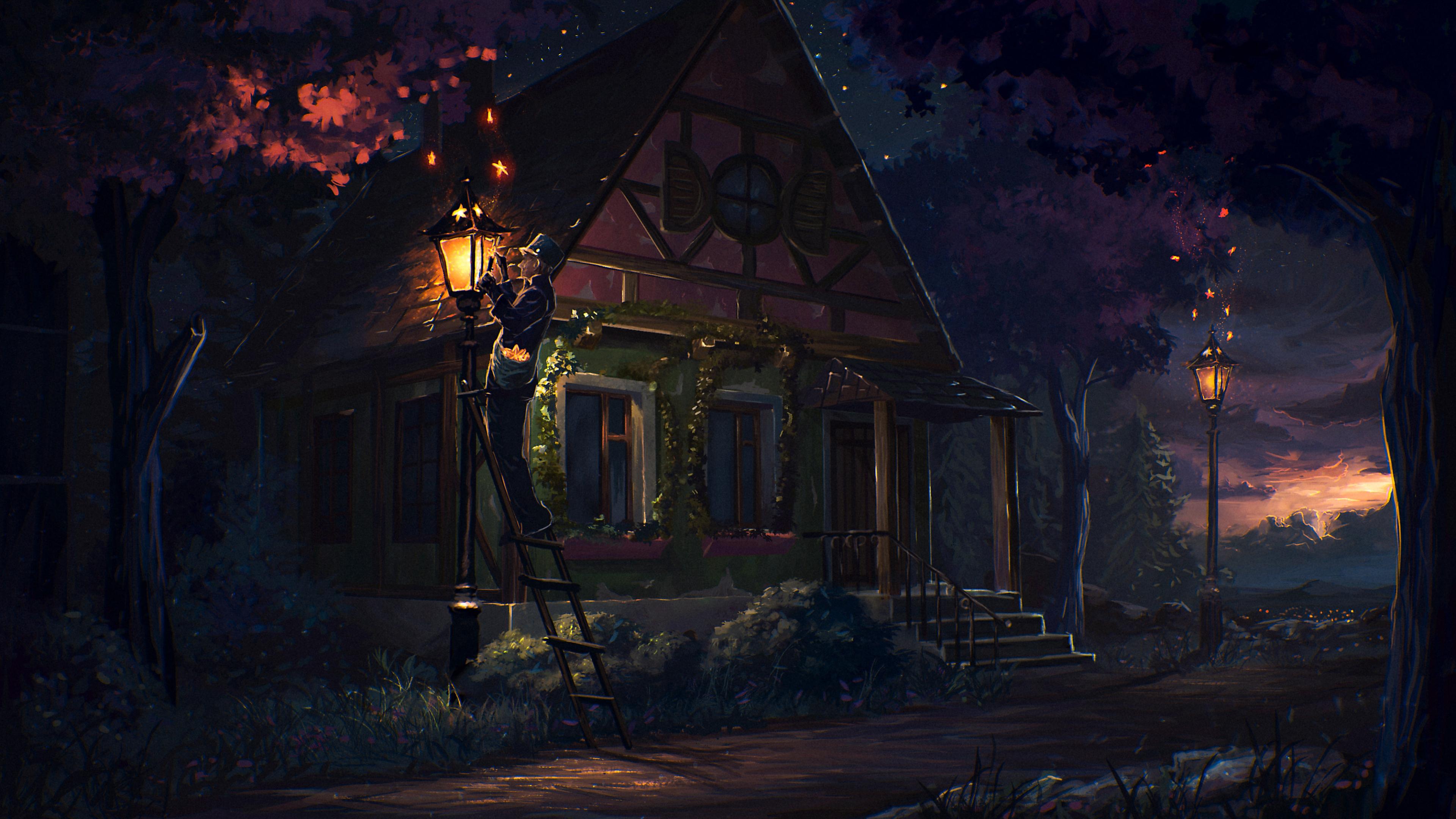 house fairy tale art light night 4k 1540748313 - House Fairy Tale Art Light Night 4k - digital art wallpapers, artist wallpapers, abstract wallpapers