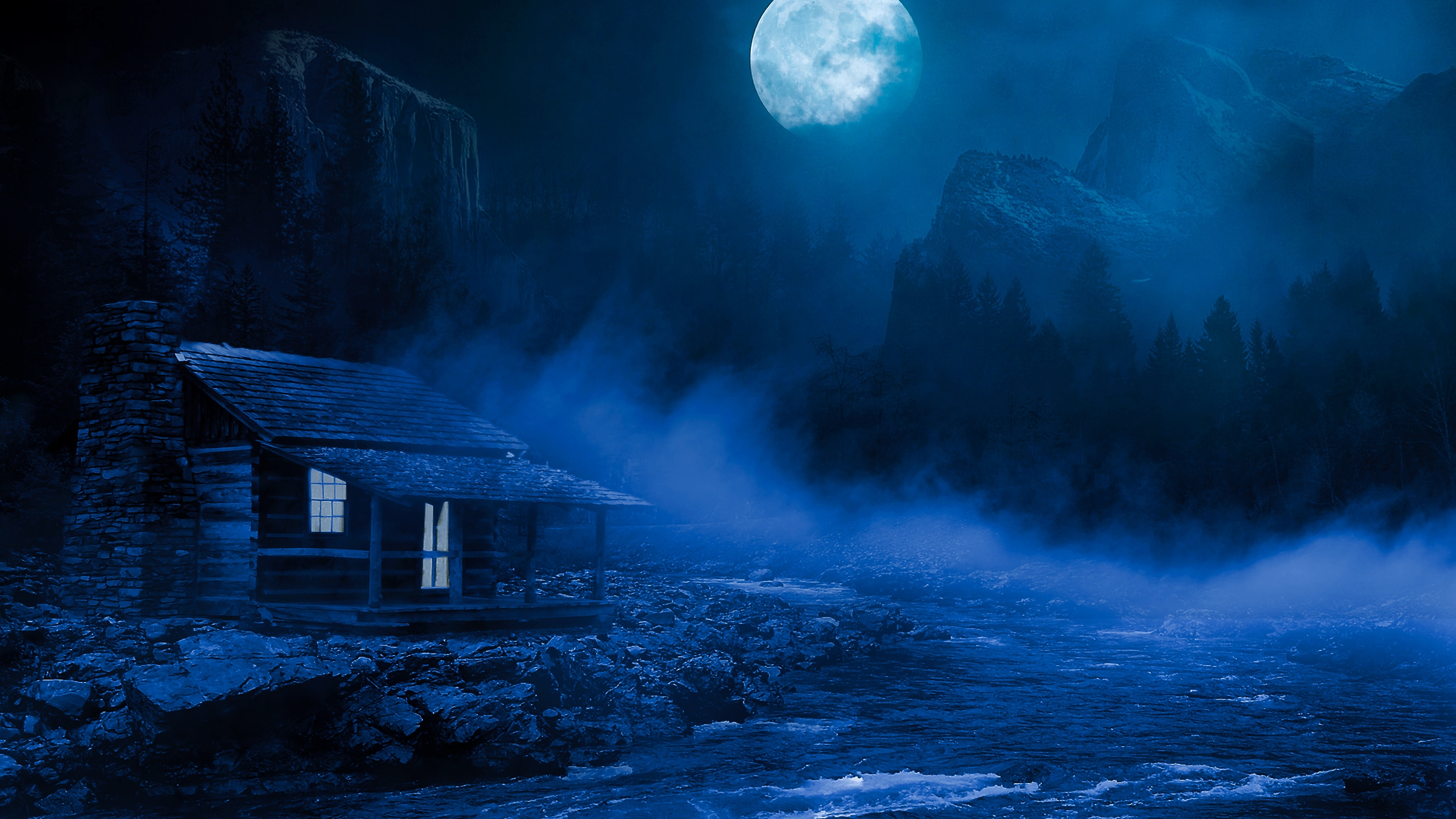 house night full moon fantasy lake flowing on side 5k 1540751656 - House Night Full Moon Fantasy Lake Flowing On Side 5k - moon wallpapers, lake wallpapers, house wallpapers, hd-wallpapers, fantasy wallpapers, digital art wallpapers, artwork wallpapers, artist wallpapers, 5k wallpapers, 4k-wallpapers