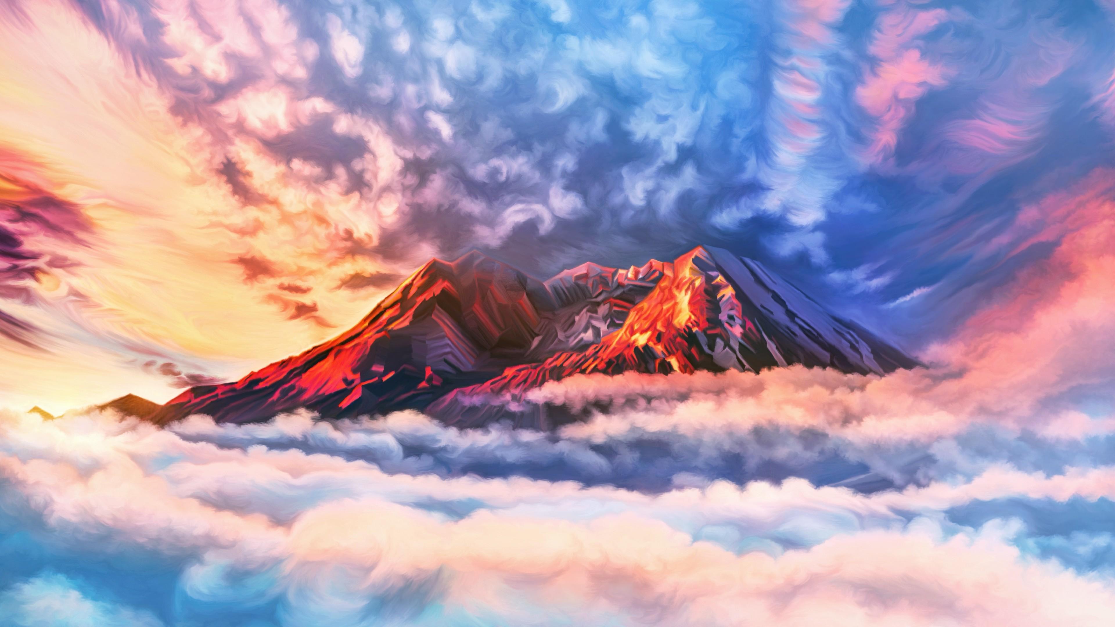illustration artwork sky mountains clouds 4k 1540751137 - Illustration Artwork Sky Mountains Clouds 4k - sky wallpapers, mountains wallpapers, illustration wallpapers, hd-wallpapers, digital art wallpapers, clouds wallpapers, artwork wallpapers, artist wallpapers, 4k-wallpapers