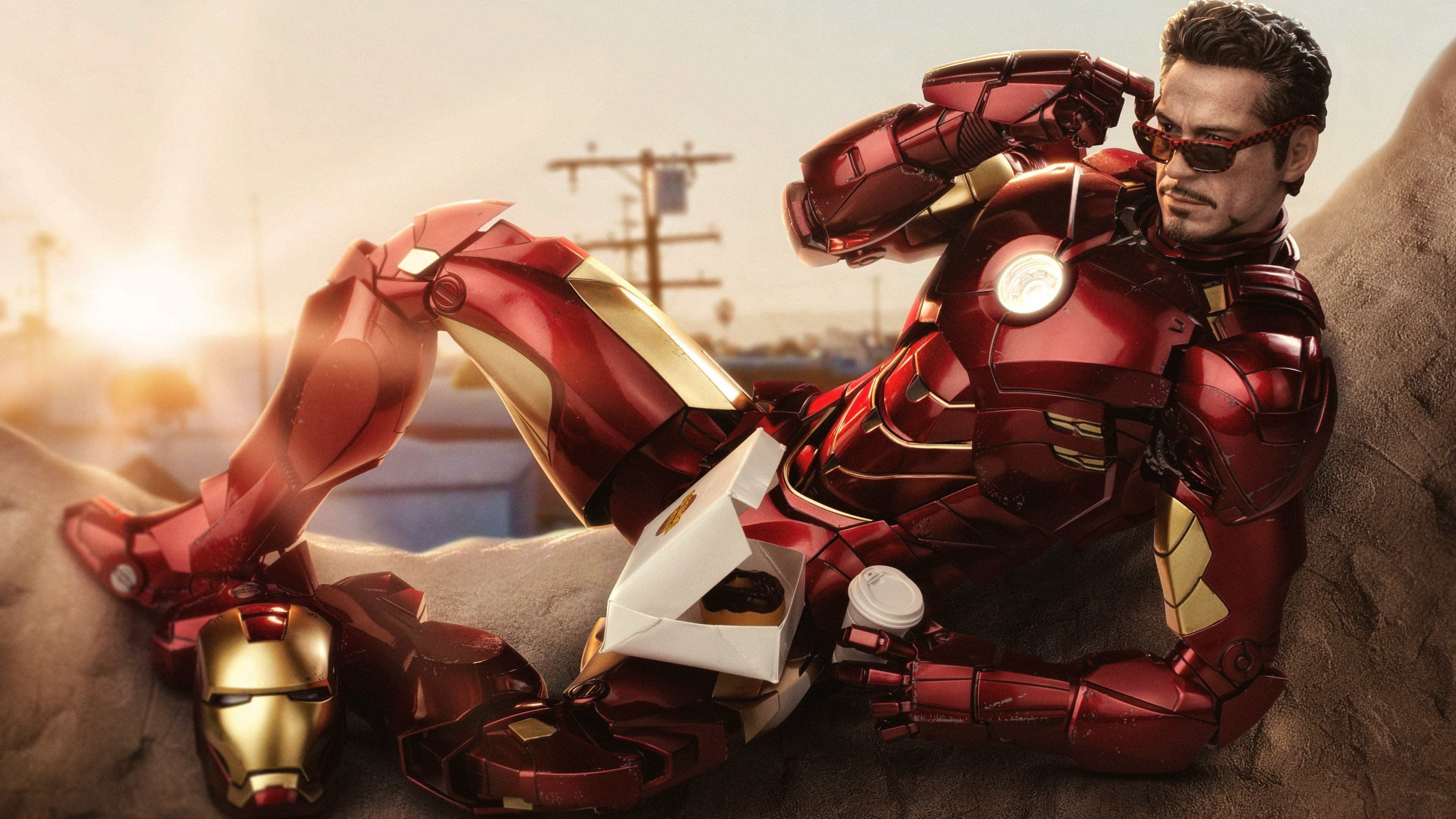 iron man eating dunkin donuts with coffee 1539978746 - Iron Man Eating Dunkin Donuts With Coffee - superheroes wallpapers, iron man wallpapers, hd-wallpapers, 5k wallpapers, 4k-wallpapers