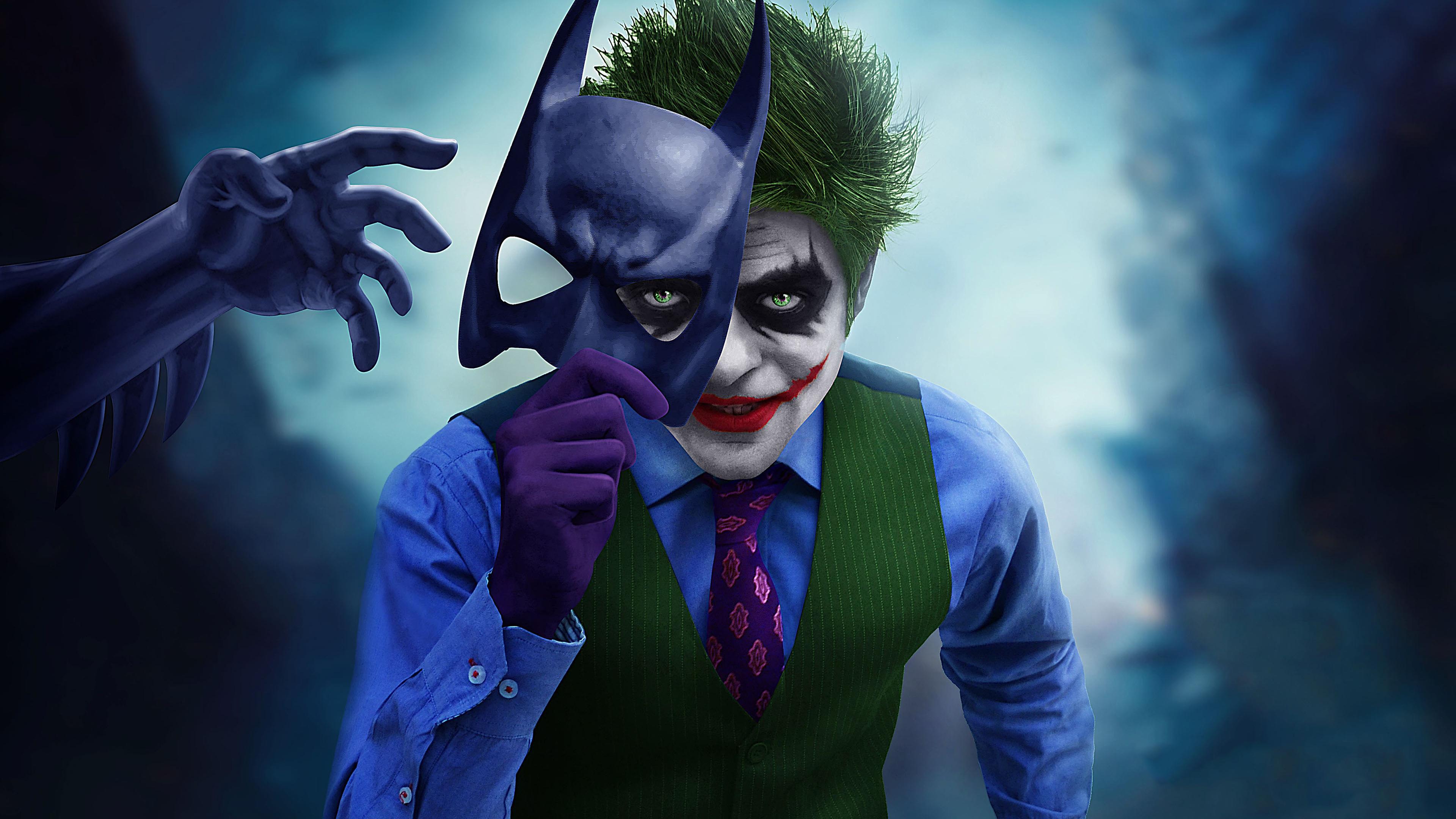 Wallpaper 4k Joker With Batman Mask Off 4k Wallpapers
