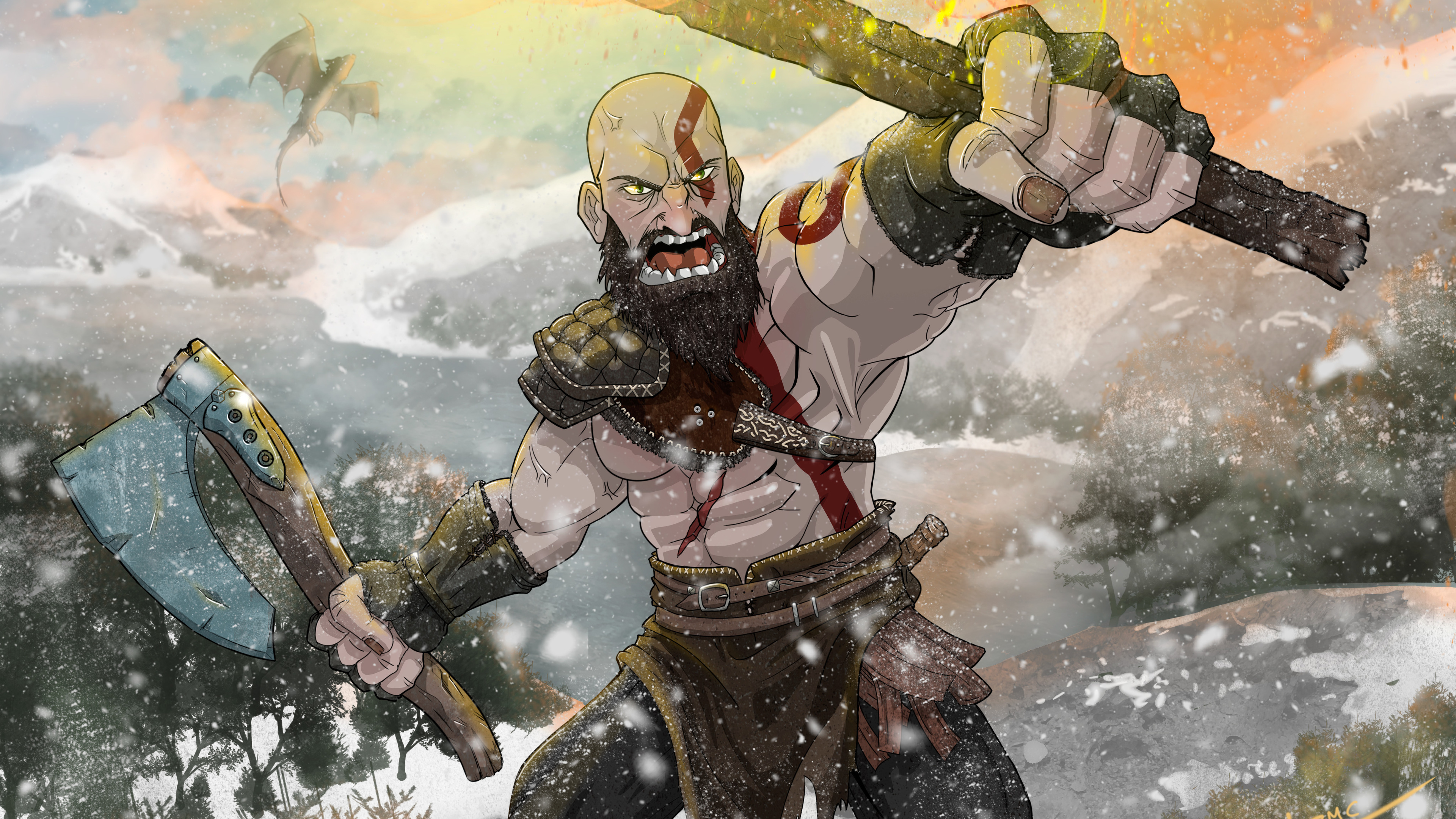 Wallpaper 4k Kratos God Of War Fan Art 4k 4k Wallpapers