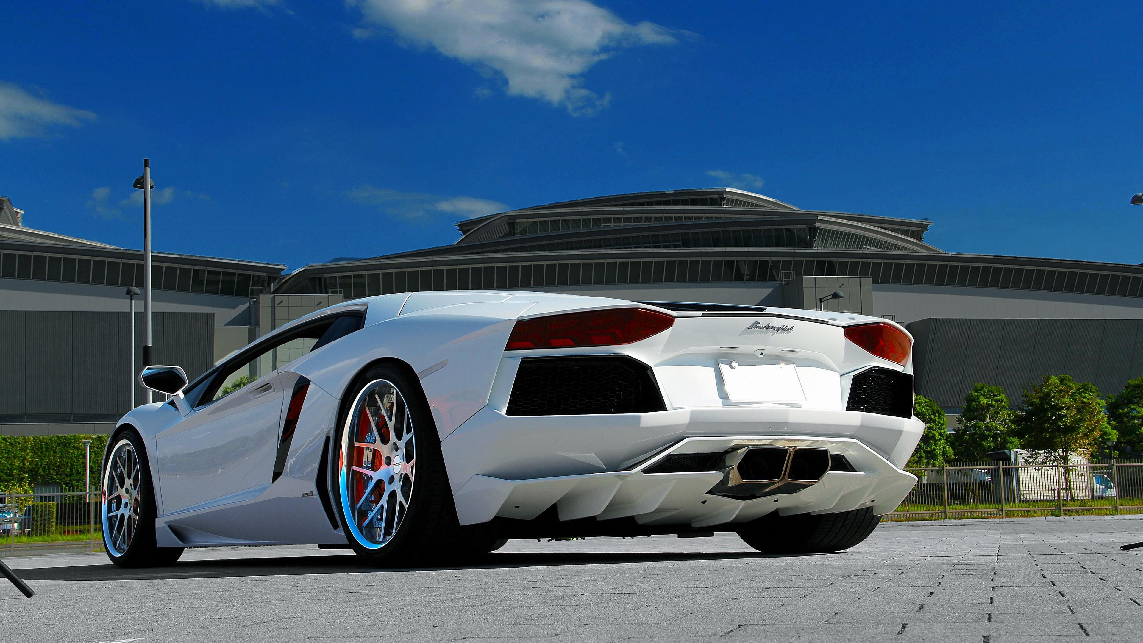 lamborghini aventador lp700 4 white paving tiles sky clouds 4k 1538937569 - lamborghini, aventador, lp700-4, white, paving tiles, sky, clouds 4k - lp700-4, Lamborghini, Aventador