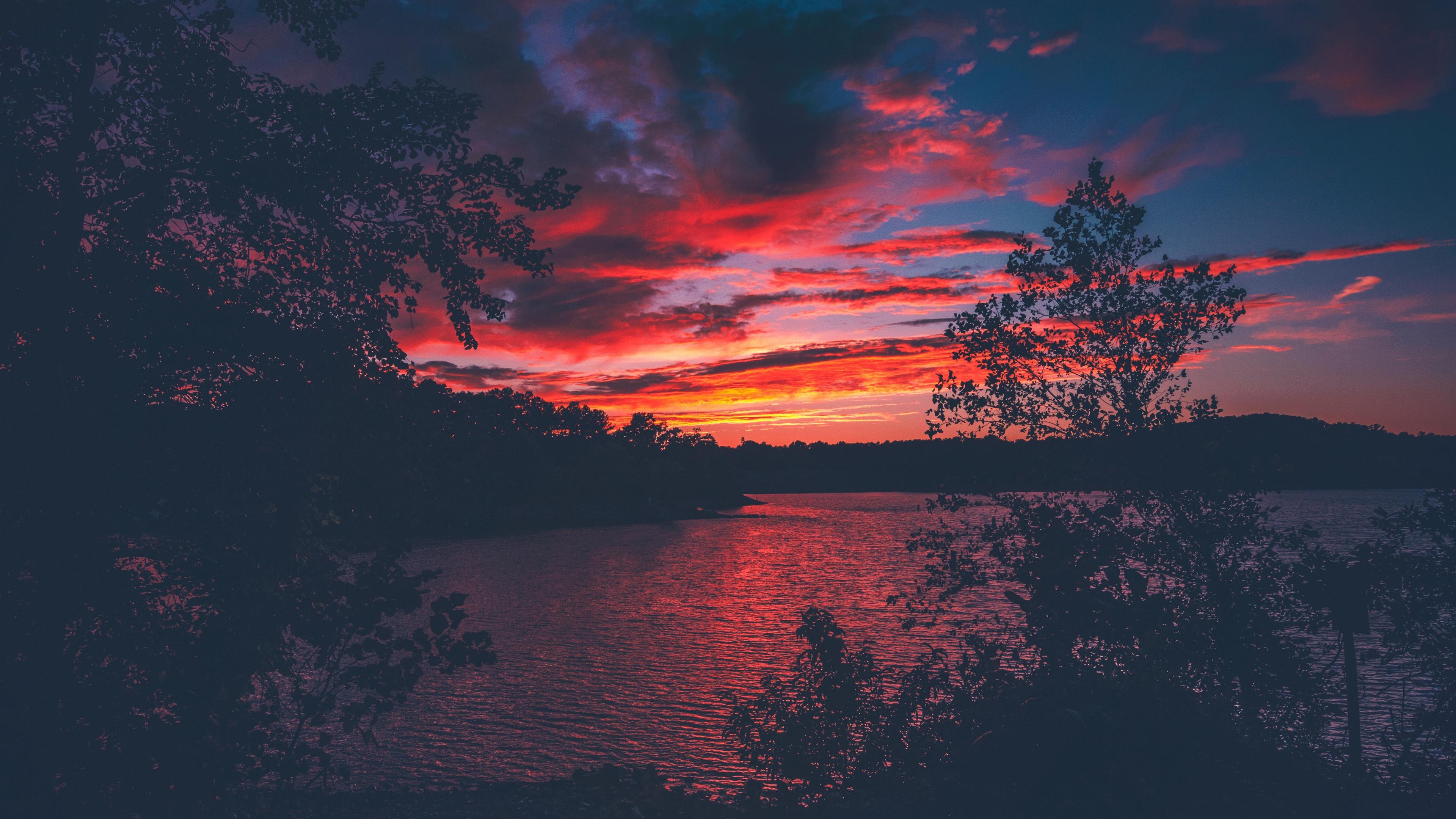 lanier lake sunset trees 4k 1540574478 - lanier, lake, sunset, trees 4k - sunset, lanier, Lake
