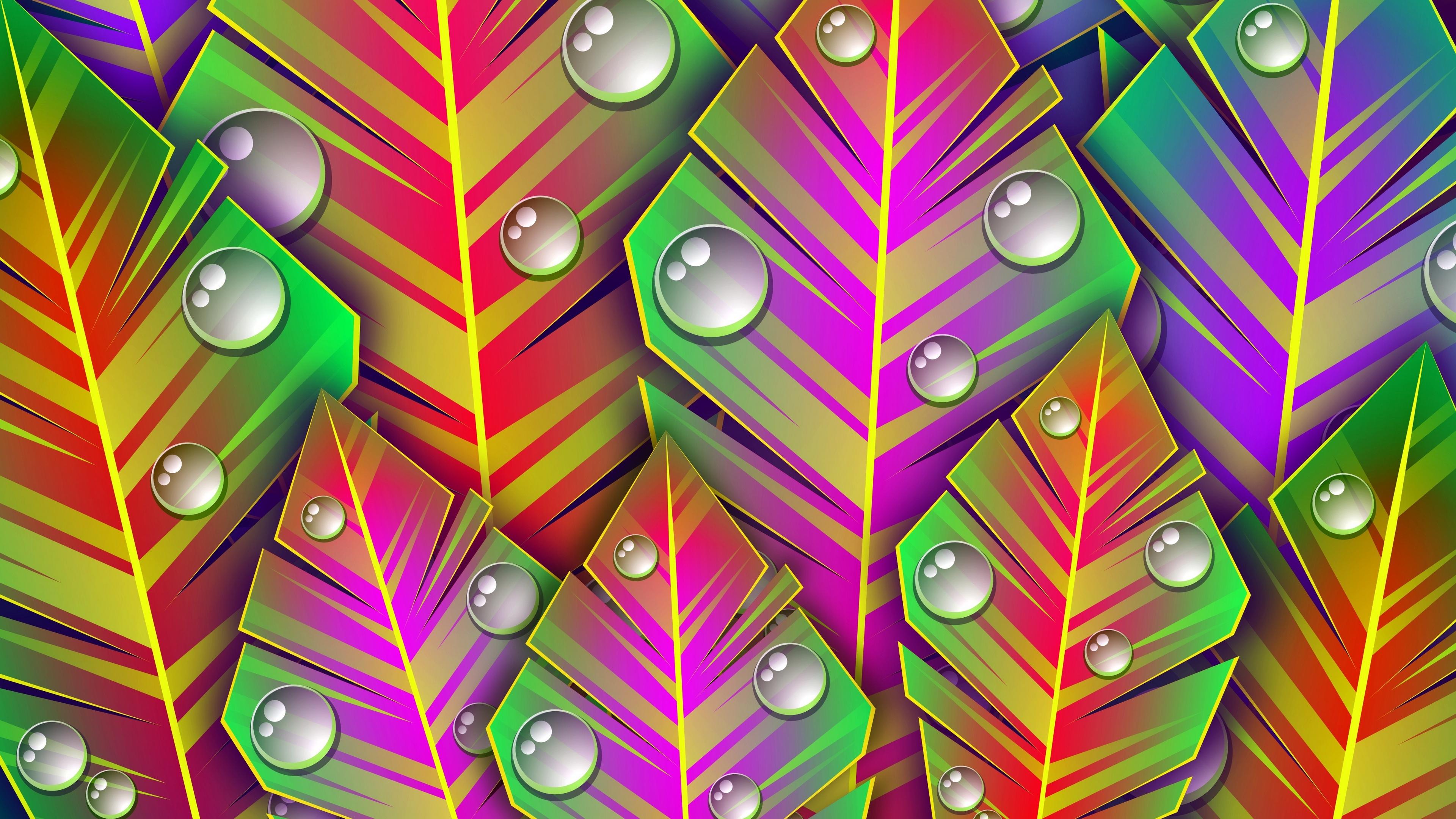 leaves dew art bright lines patterns 4k 1539369698 - leaves, dew, art, bright, lines, patterns 4k - Leaves, dew, art