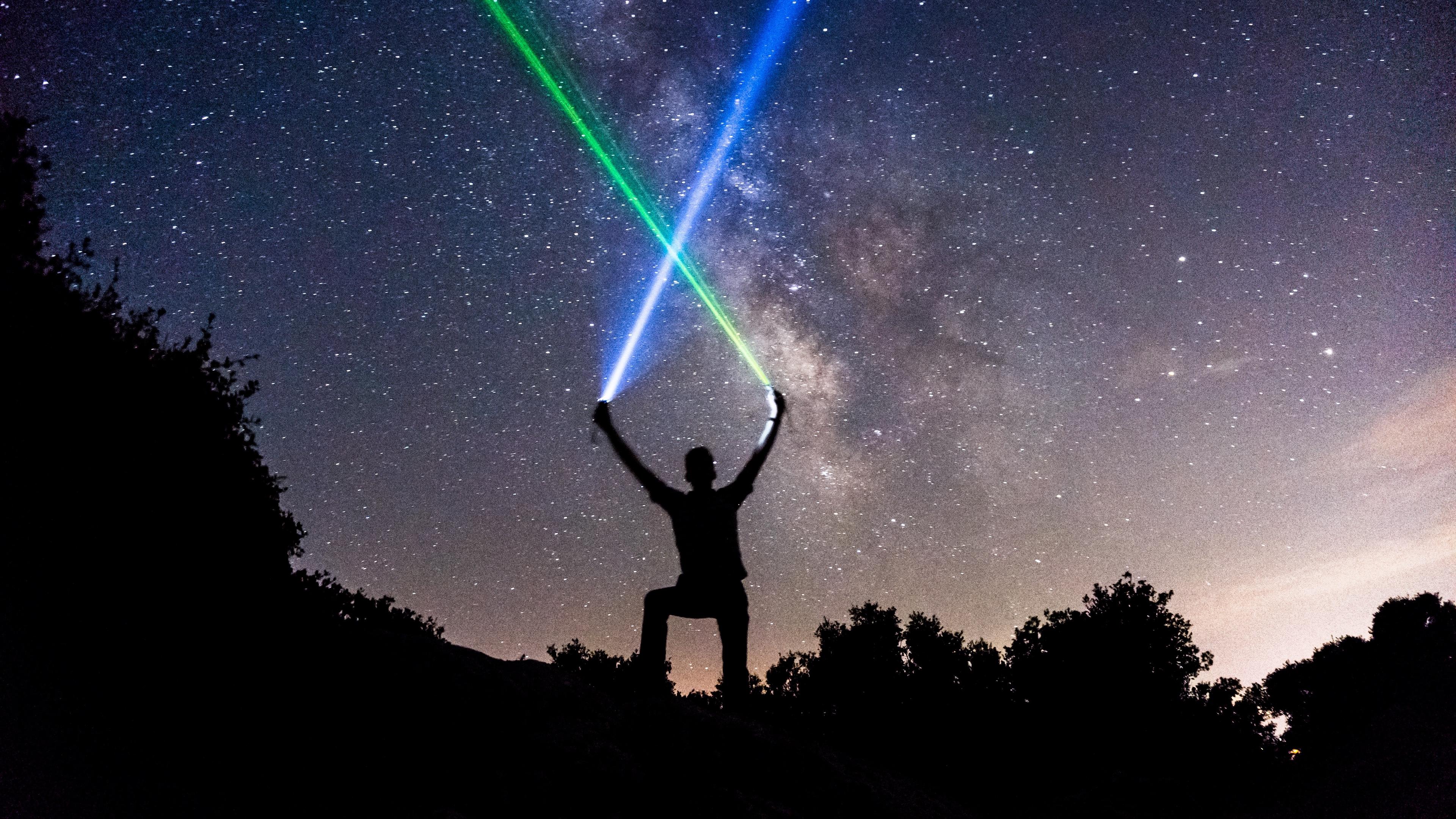 light swords starry sky silhouette stars night 4k 1540576061 - light swords, starry sky, silhouette, stars, night 4k - starry sky, Silhouette, light swords