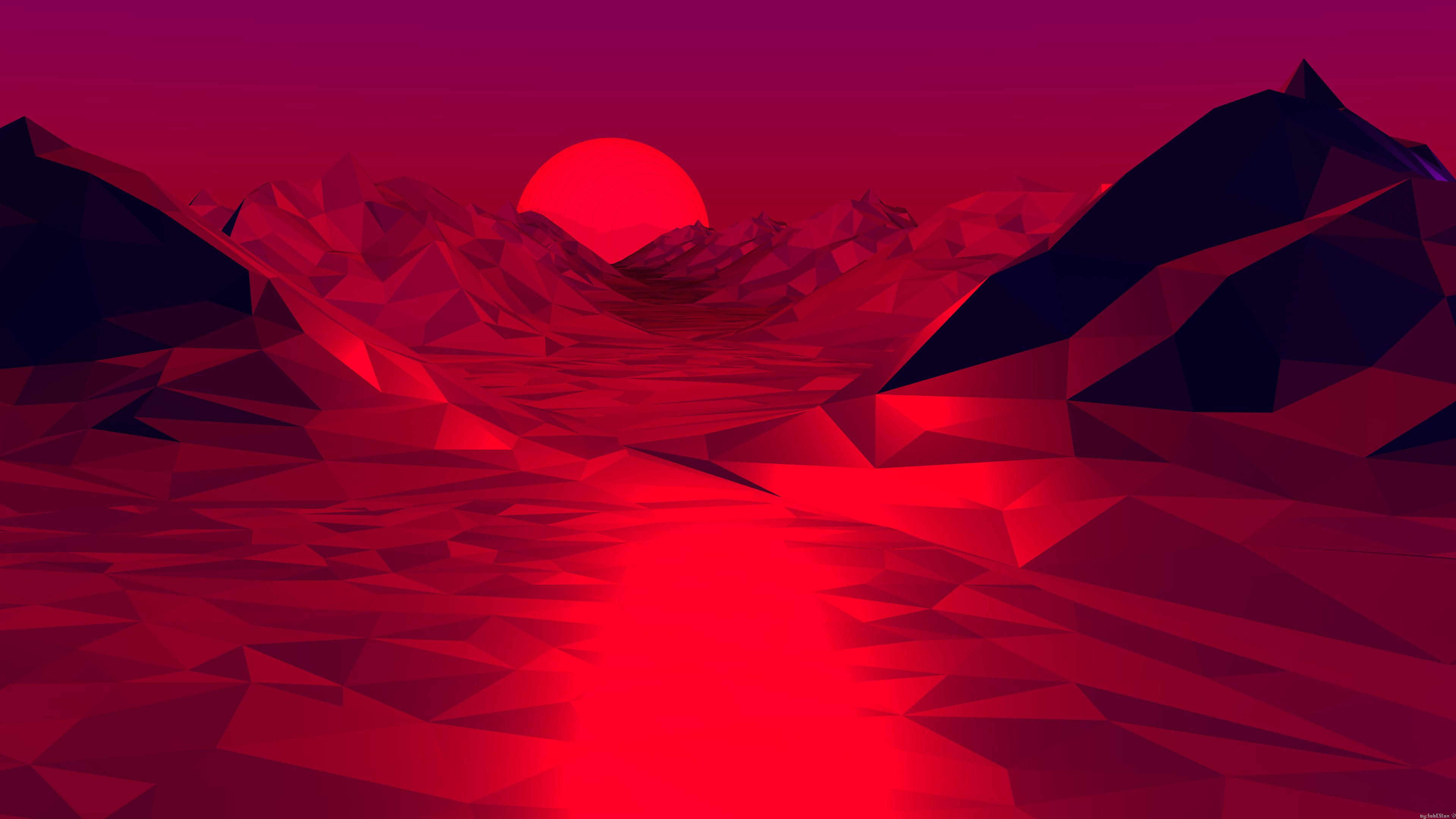 low poly red 3d abstract 4k 1539371309 - Low Poly Red 3d Abstract 4k - red wallpapers, low poly wallpapers, hd-wallpapers, digital art wallpapers, abstract wallpapers, 4k-wallpapers, 3d wallpapers