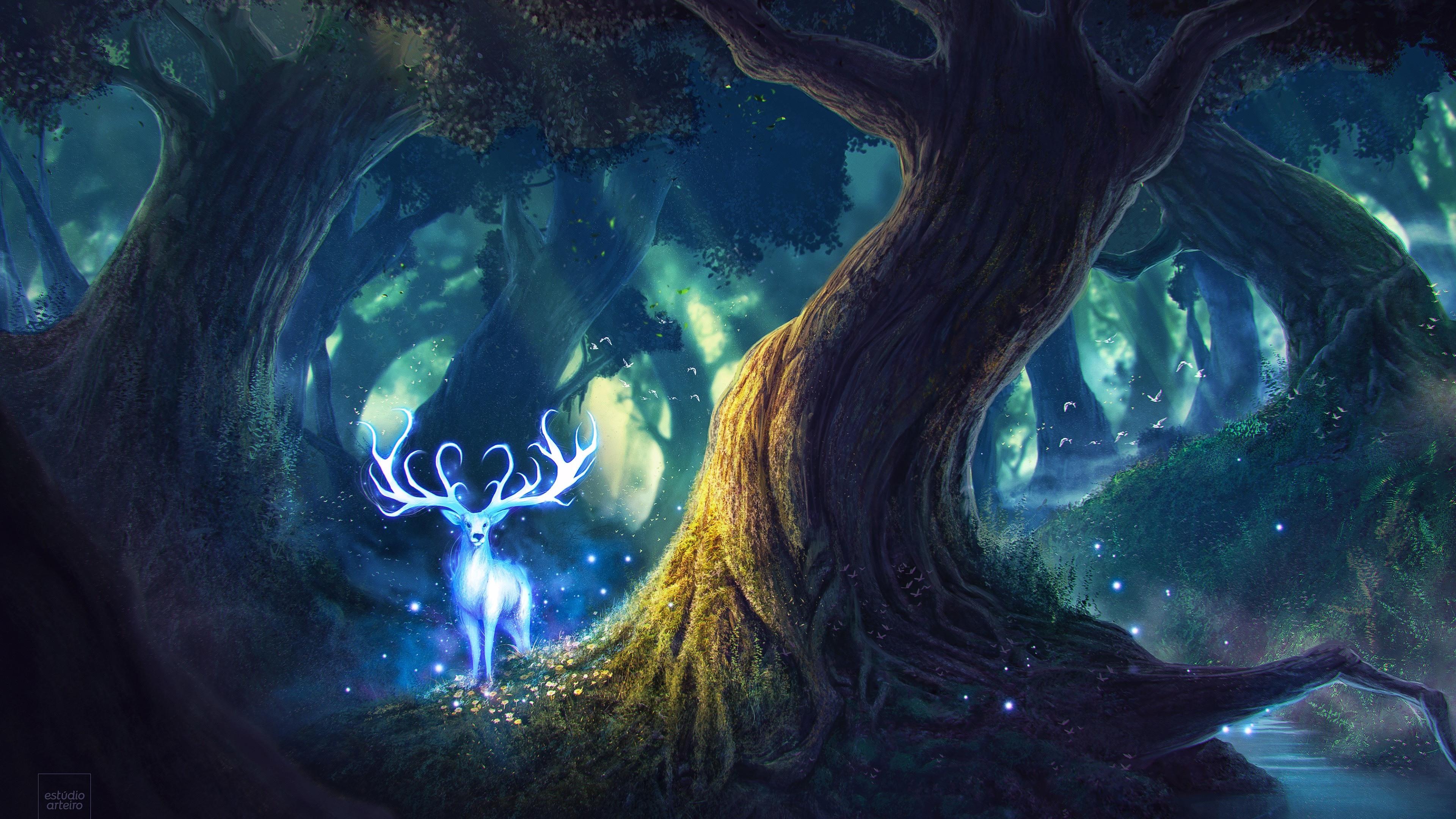magic forest fantasy deer 4k 1540751503 - Magic Forest Fantasy Deer 4k - hd-wallpapers, forest wallpapers, fantasy wallpapers, digital art wallpapers, deer wallpapers, creature wallpapers, artwork wallpapers, artstation wallpapers, artist wallpapers