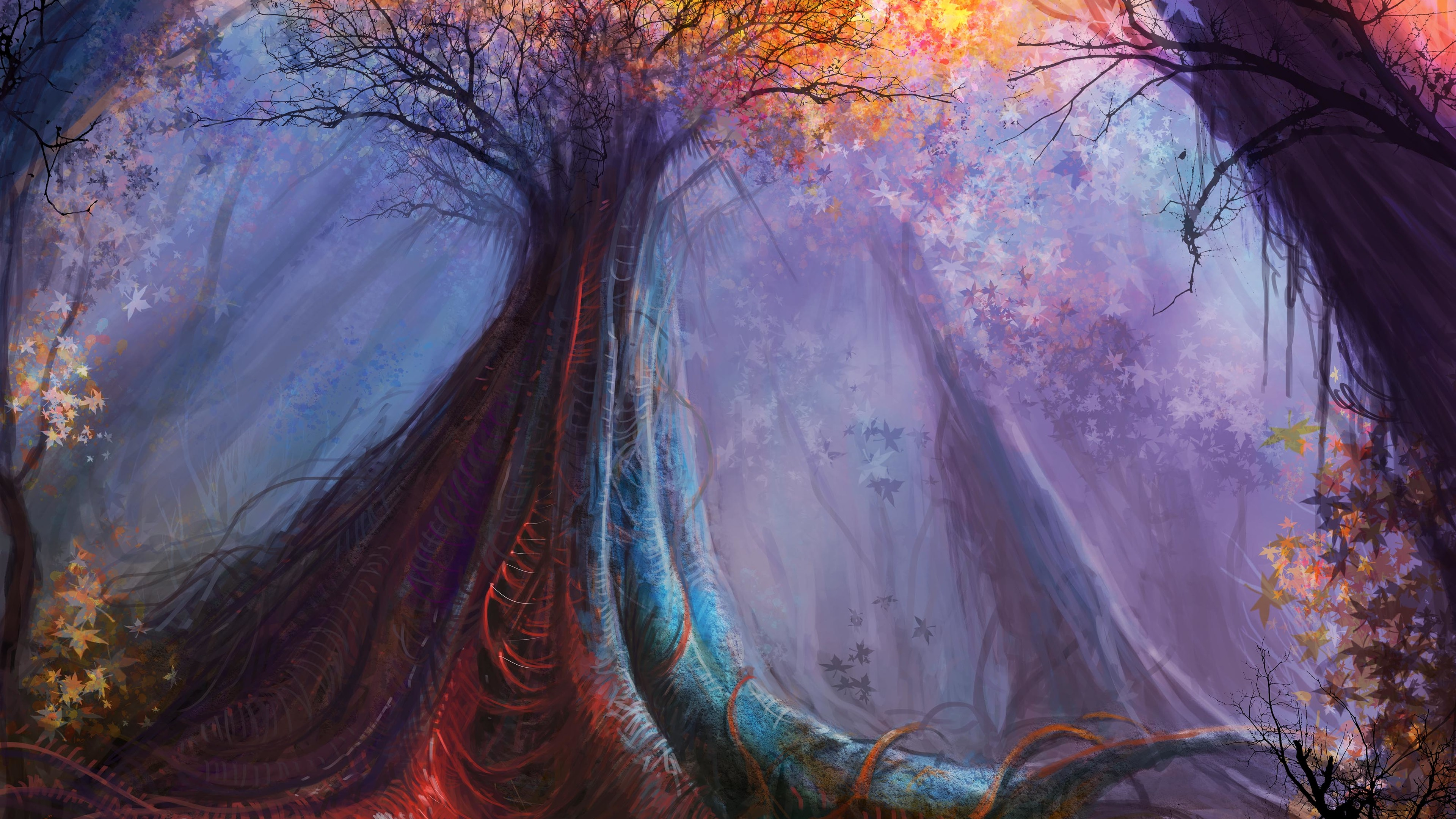 magic tree painting 4k 1540754436 - Magic Tree Painting 4k - tree wallpapers, painting wallpapers, hd-wallpapers, digital art wallpapers, deviantart wallpapers, artwork wallpapers, artist wallpapers, 4k-wallpapers