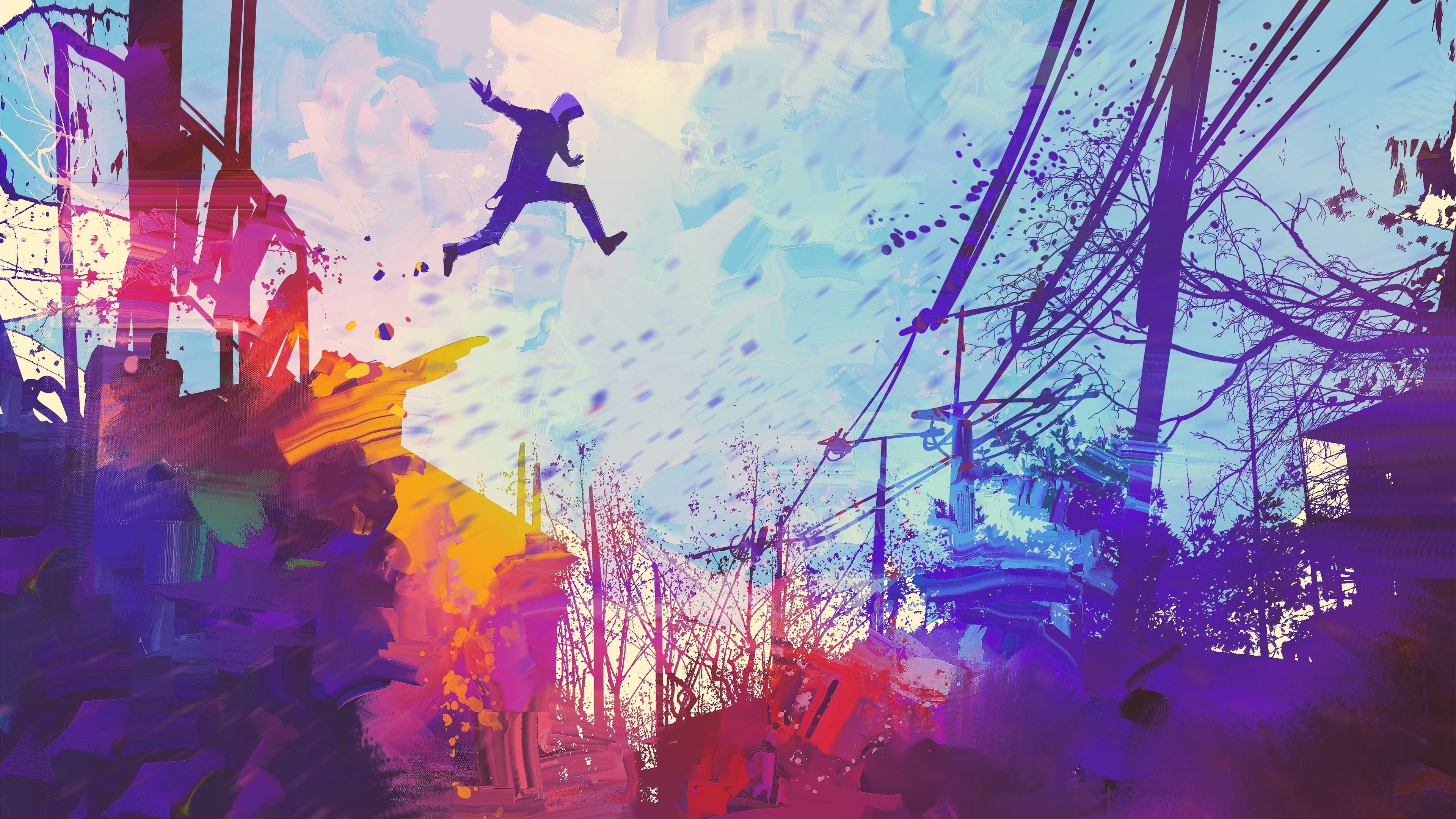 man jumping roof abstract illustration painting 4k 1540756214 - Man Jumping Roof Abstract Illustration Painting 4k - painting wallpapers, jump wallpapers, illustration wallpapers, hd-wallpapers, digital art wallpapers, artwork wallpapers, artist wallpapers, abstract wallpapers, 4k-wallpapers