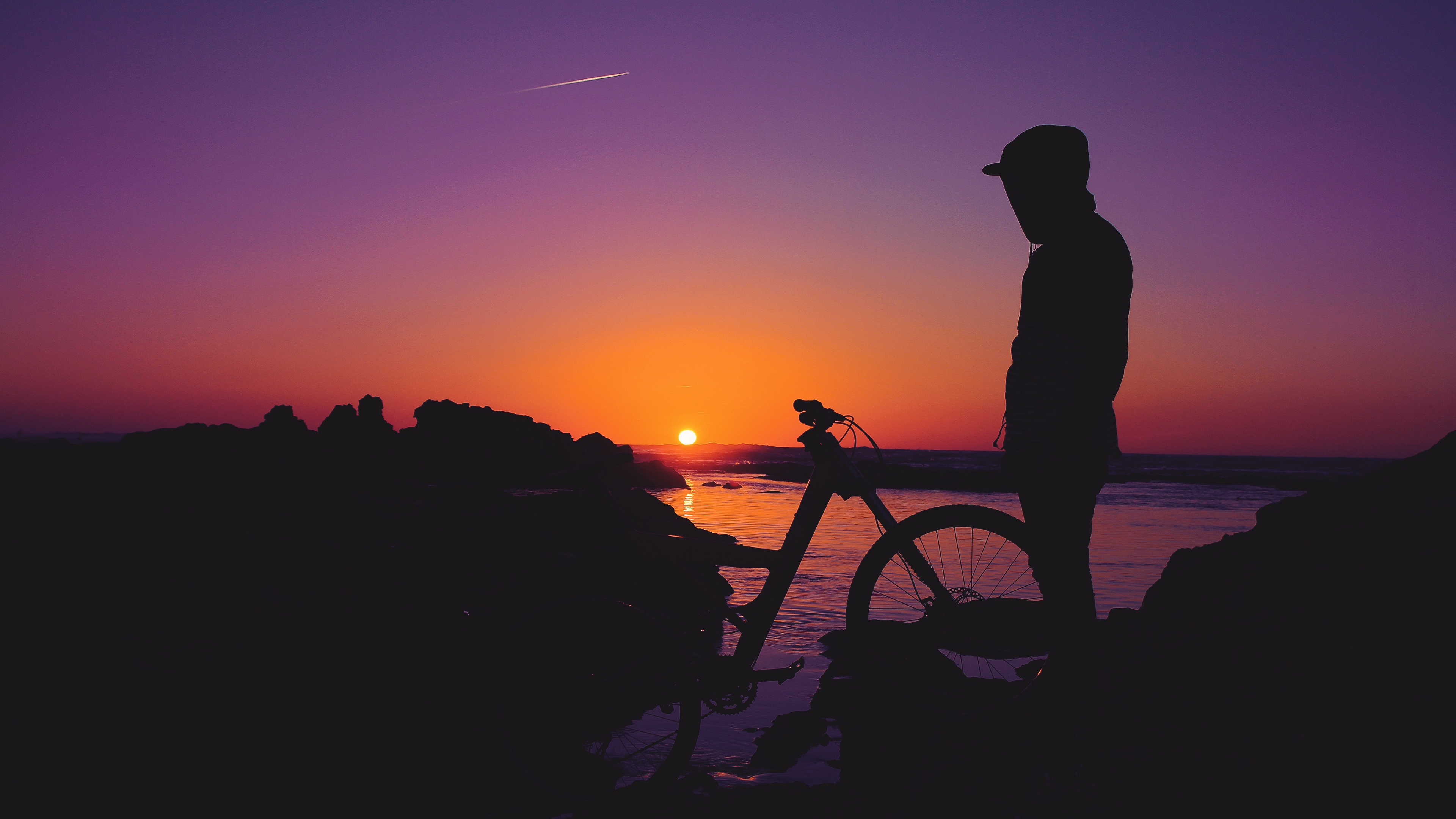 man silhouette bicycle sunset 4k 1540576069 - man, silhouette, bicycle, sunset 4k - Silhouette, Man, Bicycle